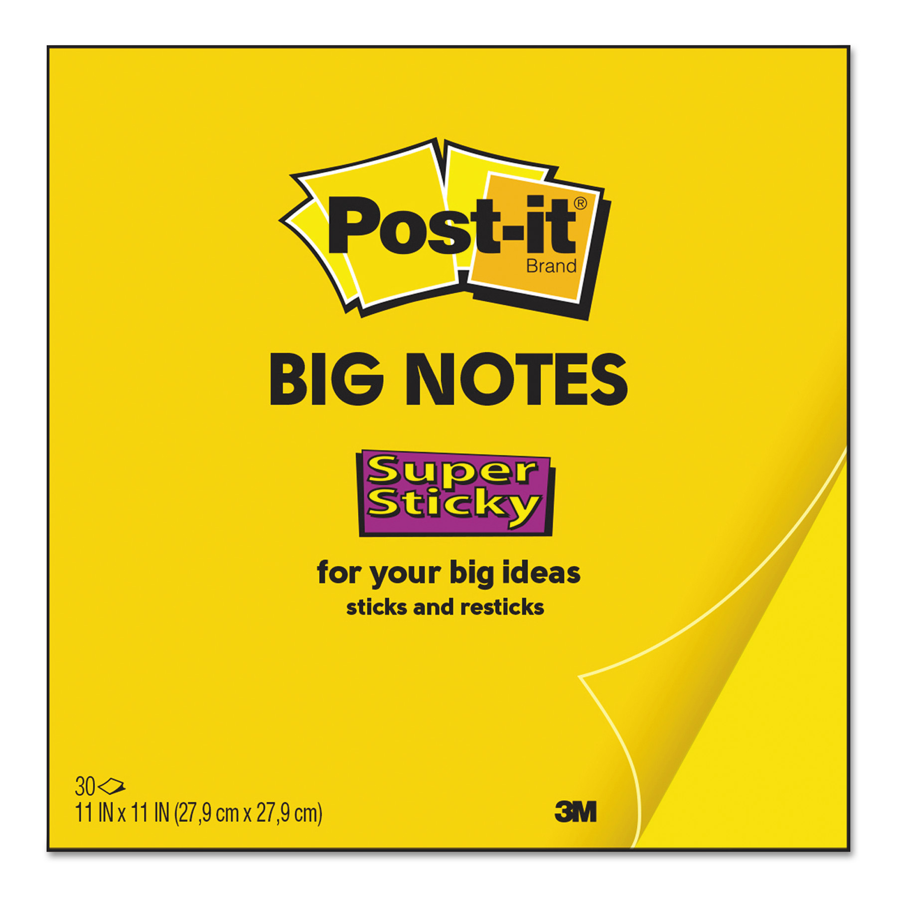 Big Notes, 11 x 11, Yellow, 30 Sheets