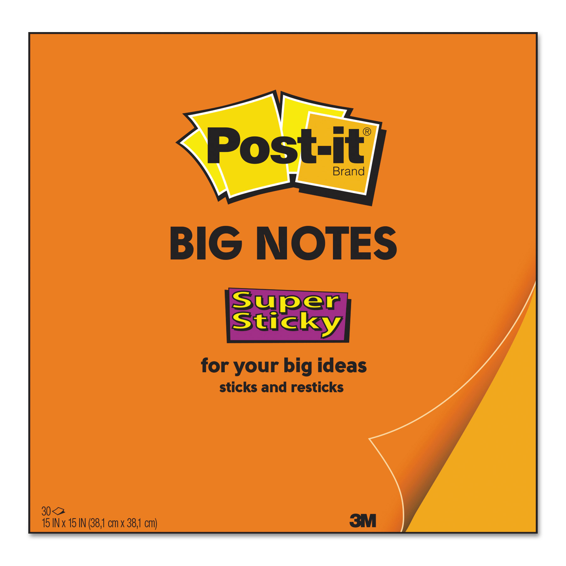 Big Notes, 15 x 15, Neon Orange, 30 Sheets
