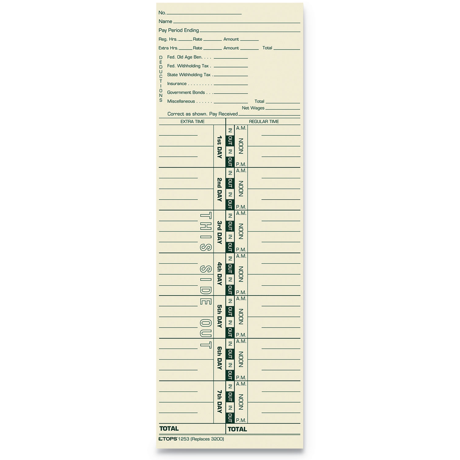 Time Card for Acroprint and Lathem, Weekly, 3 1/2 x 10 1/2, 500/Box