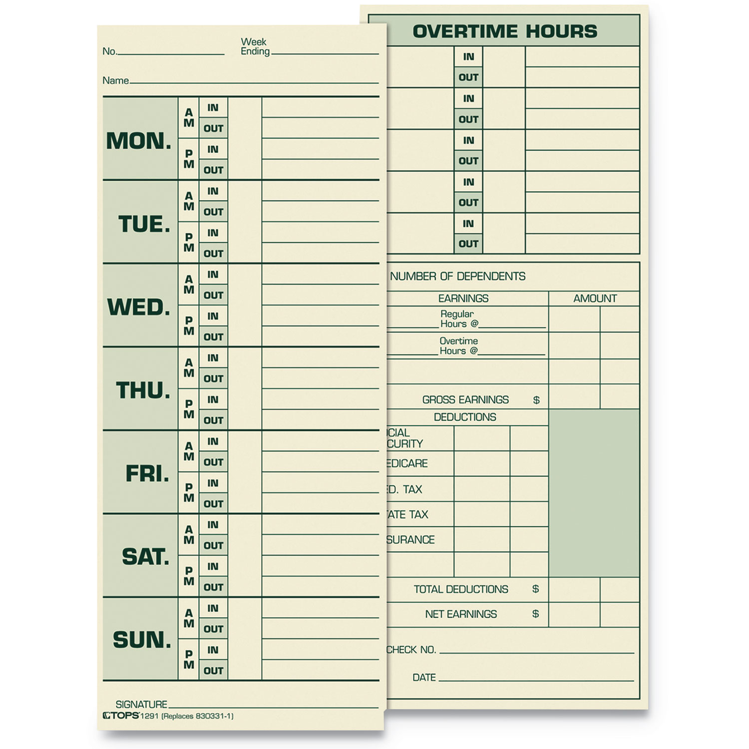 Time Card for Pyramid Model 331-10, Weekly, Two-Sided, 3 1/2 x 8 1/2, 500/Box
