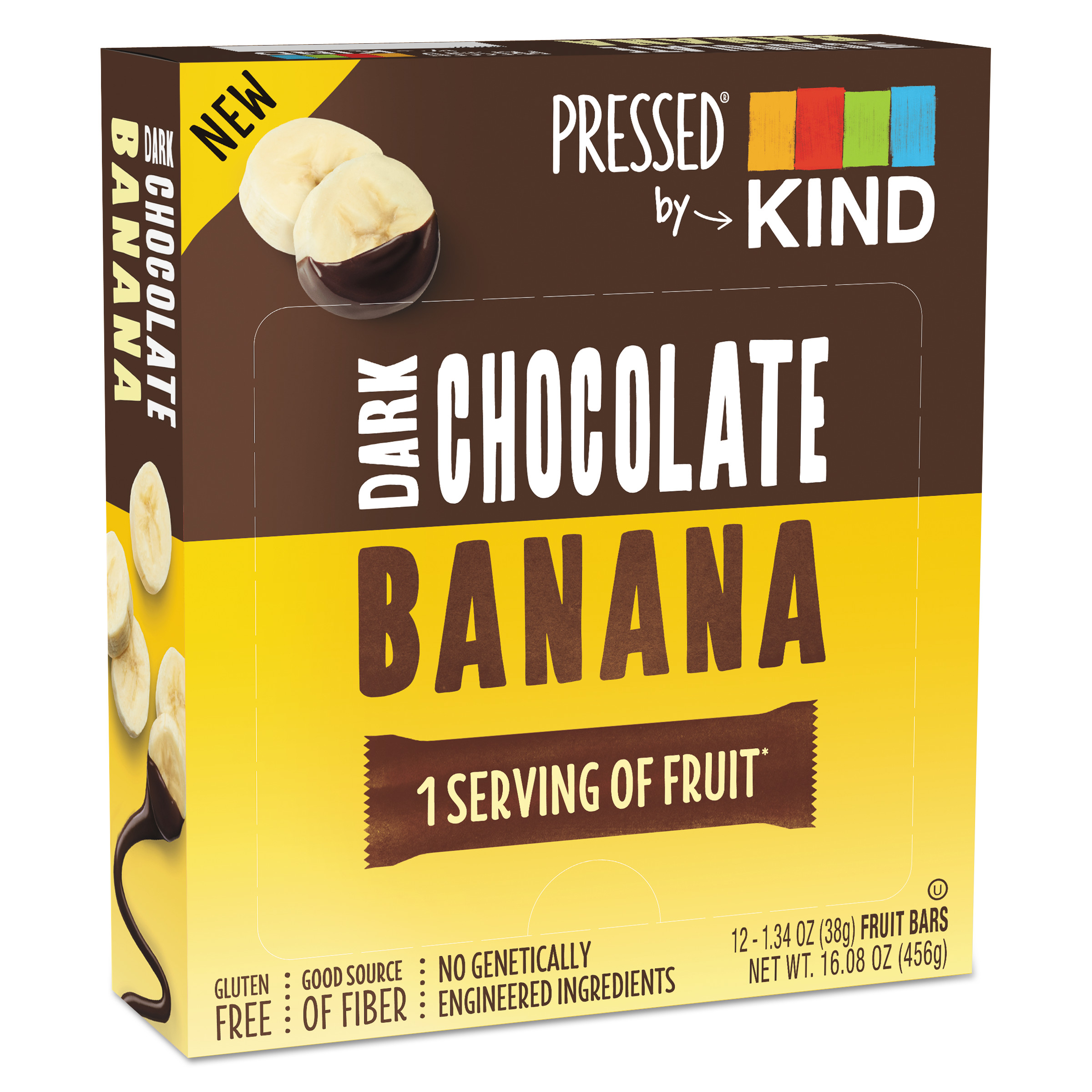 Pressed by KIND Bars, Dark Chocolate Banana, 1.34 oz, 12/Pack