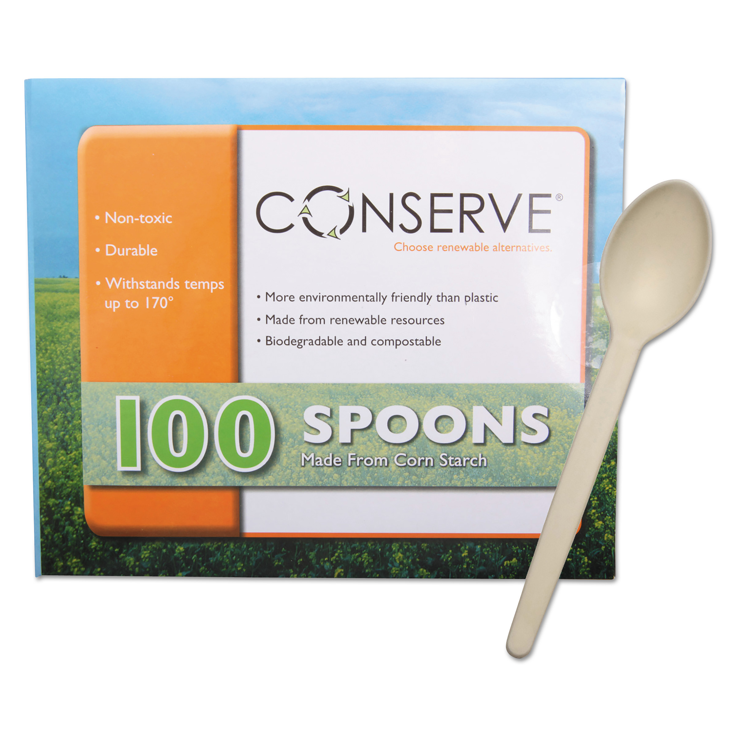 Corn Starch Cutlery, Spoon, White, 100/Pack - TCR Services