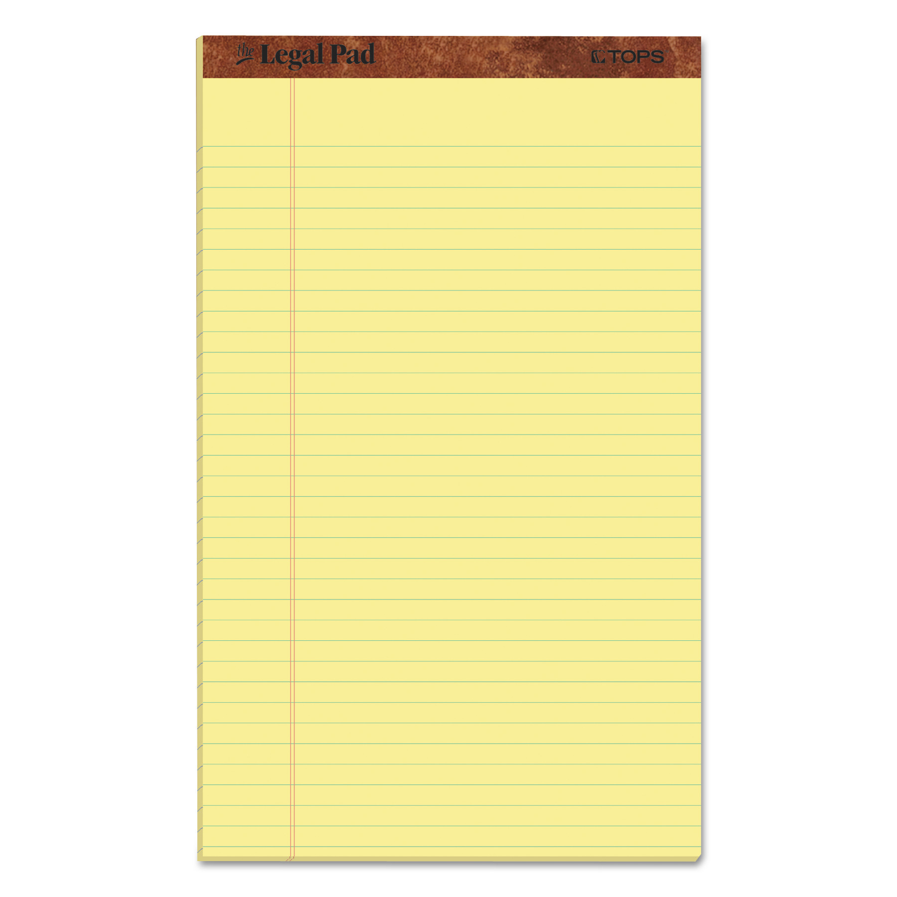 """""""The Legal Pad"""" Perforated Pads, Wide/Legal Rule, 36.36 x 36, Canary, 360  Sheets, Dozen"""