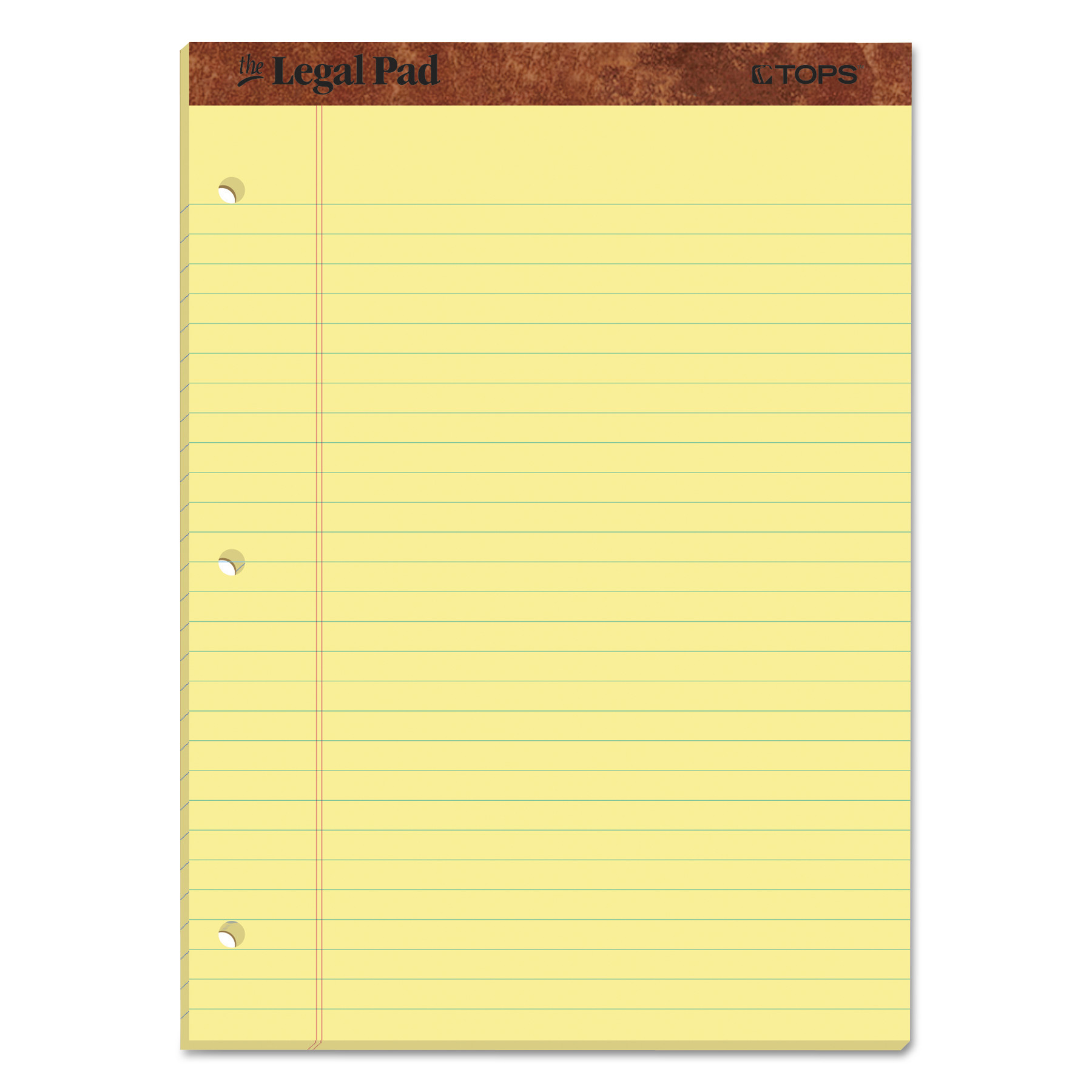 """""""The Legal Pad"""" Ruled Pads, Wide/Legal Rule, 36.36 x 36.36, Canary, 360  Sheets, Dozen"""