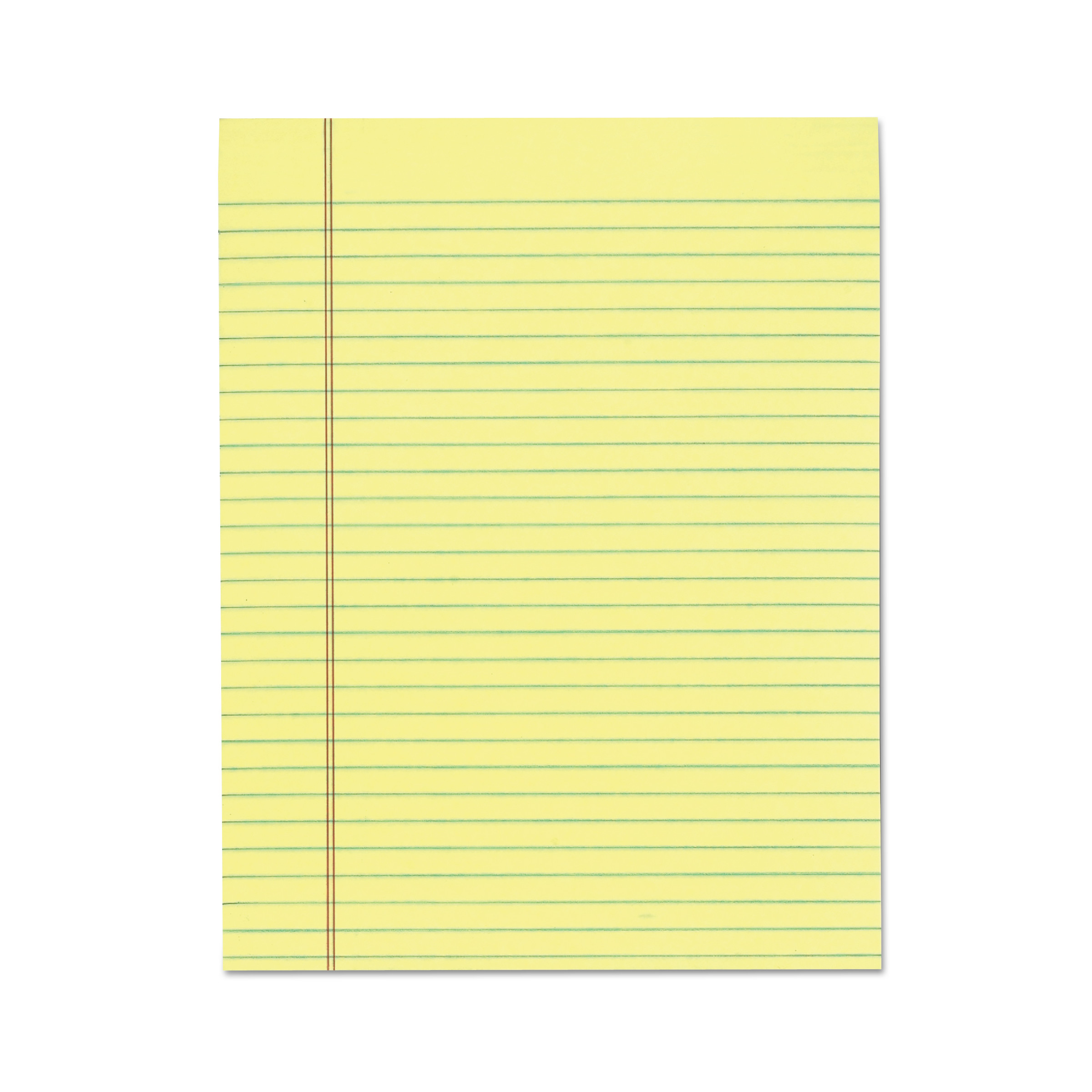 """""""The Legal Pad"""" Glue Top Pads, Wide/Legal Rule, 36.36 x 36, Canary, 360  Sheets, 36/Pack"""