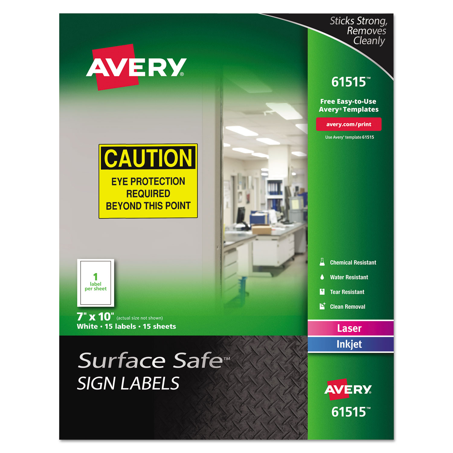 Avery Surface Safe Sign Labels, 7 x 10, White, 15 Pk 61515