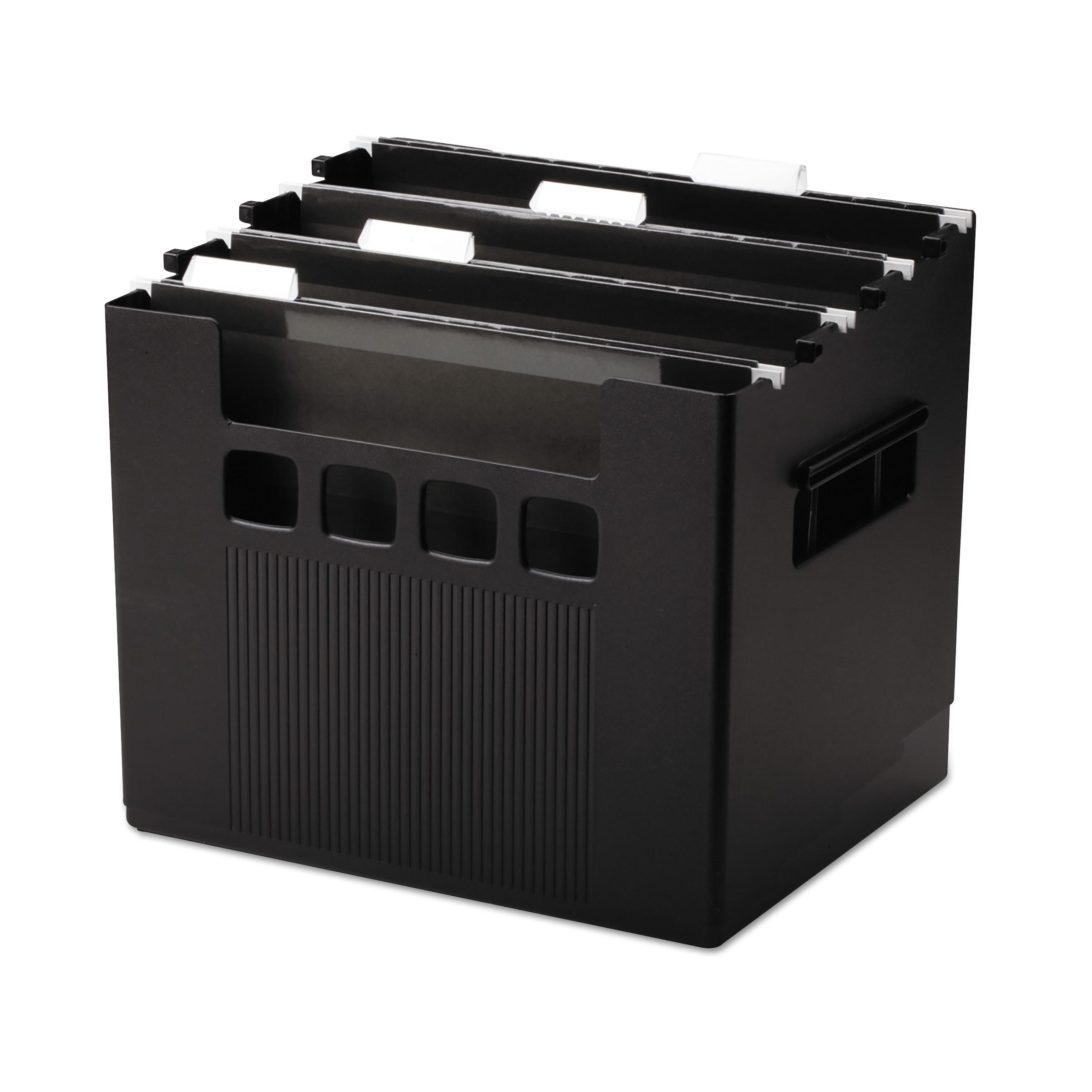 Desktop File w/Hanging Folders, Letter, Plastic, 12 3/4 x 10 x 11, Black