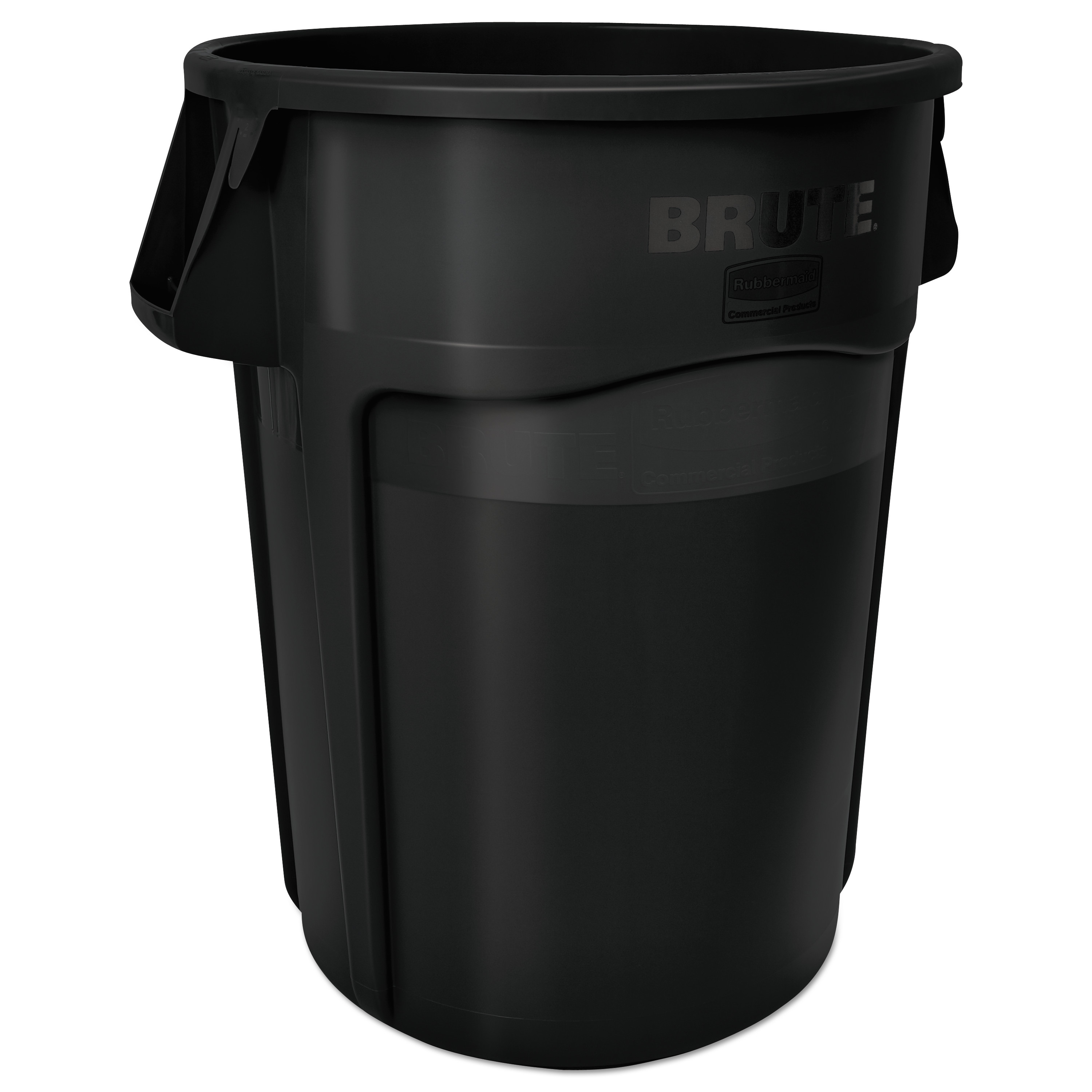 Vented Round Brute Container, 55 gal, Black
