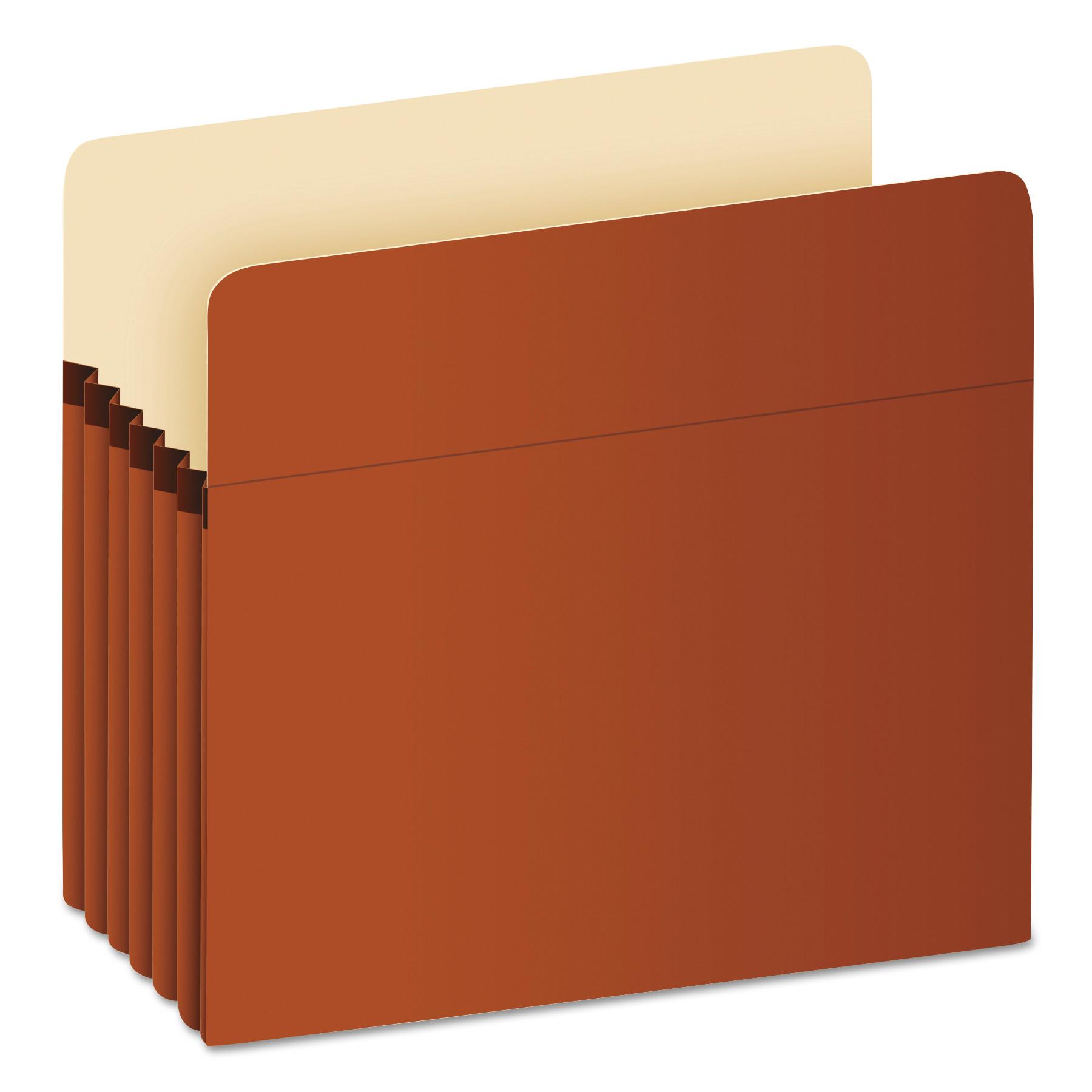 """Pocket File, 5.25"""" Expansion, Letter Size, Red Fiber"""