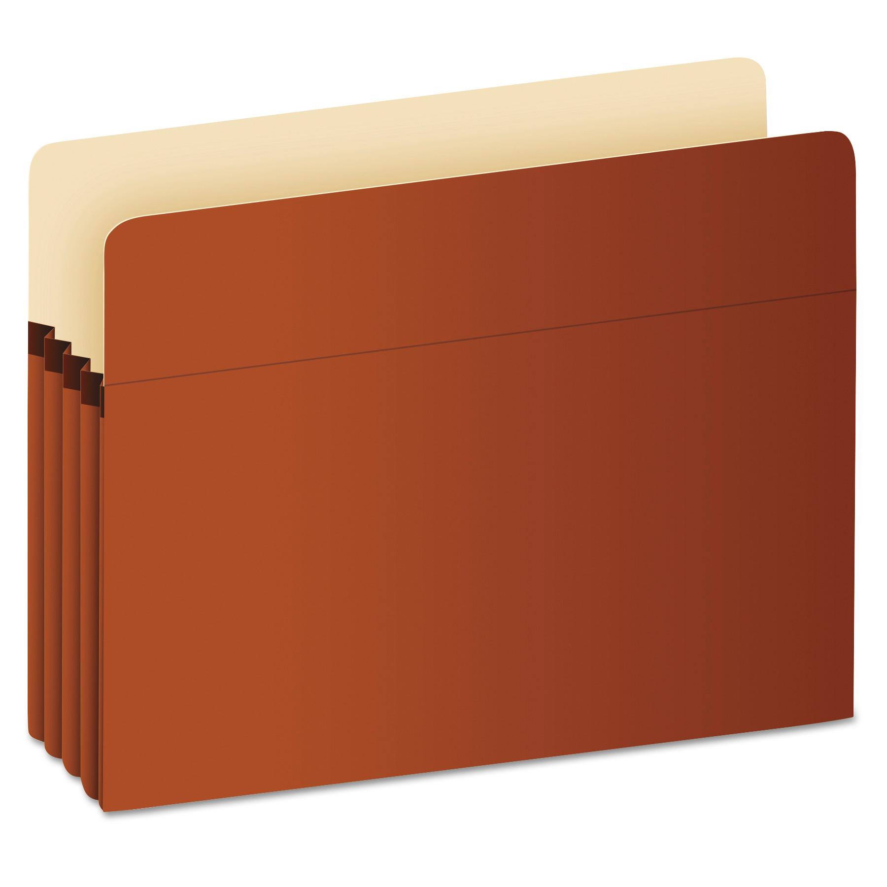 """Pocket File, 3.5"""" Expansion, Legal Size, Red Fiber"""