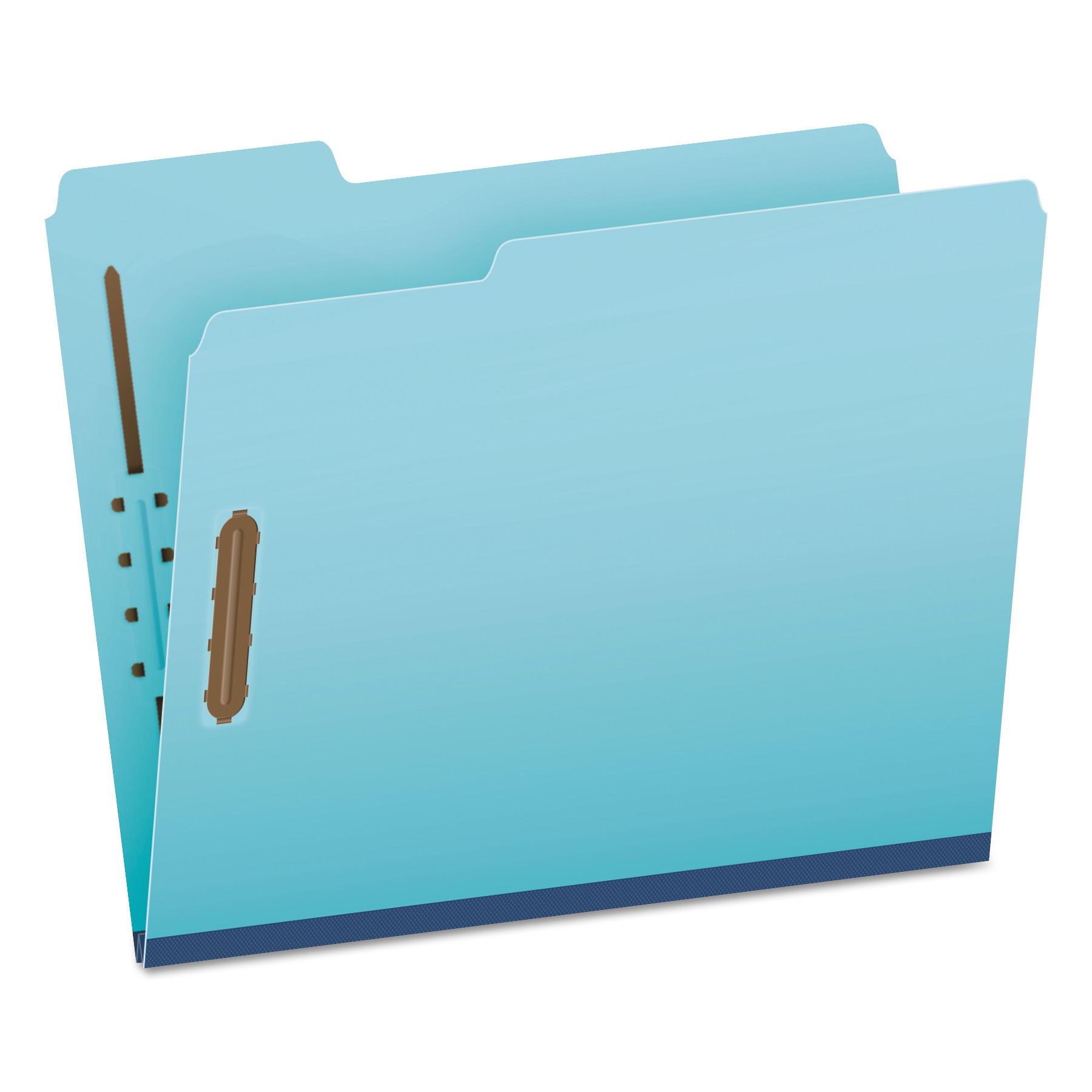 """Earthwise by Heavy-Duty Pressboard Folders with Two Fasteners, 1/3-Cut Tabs, 2"""" Expansion, Letter Size, Light Blue, 25/Box"""