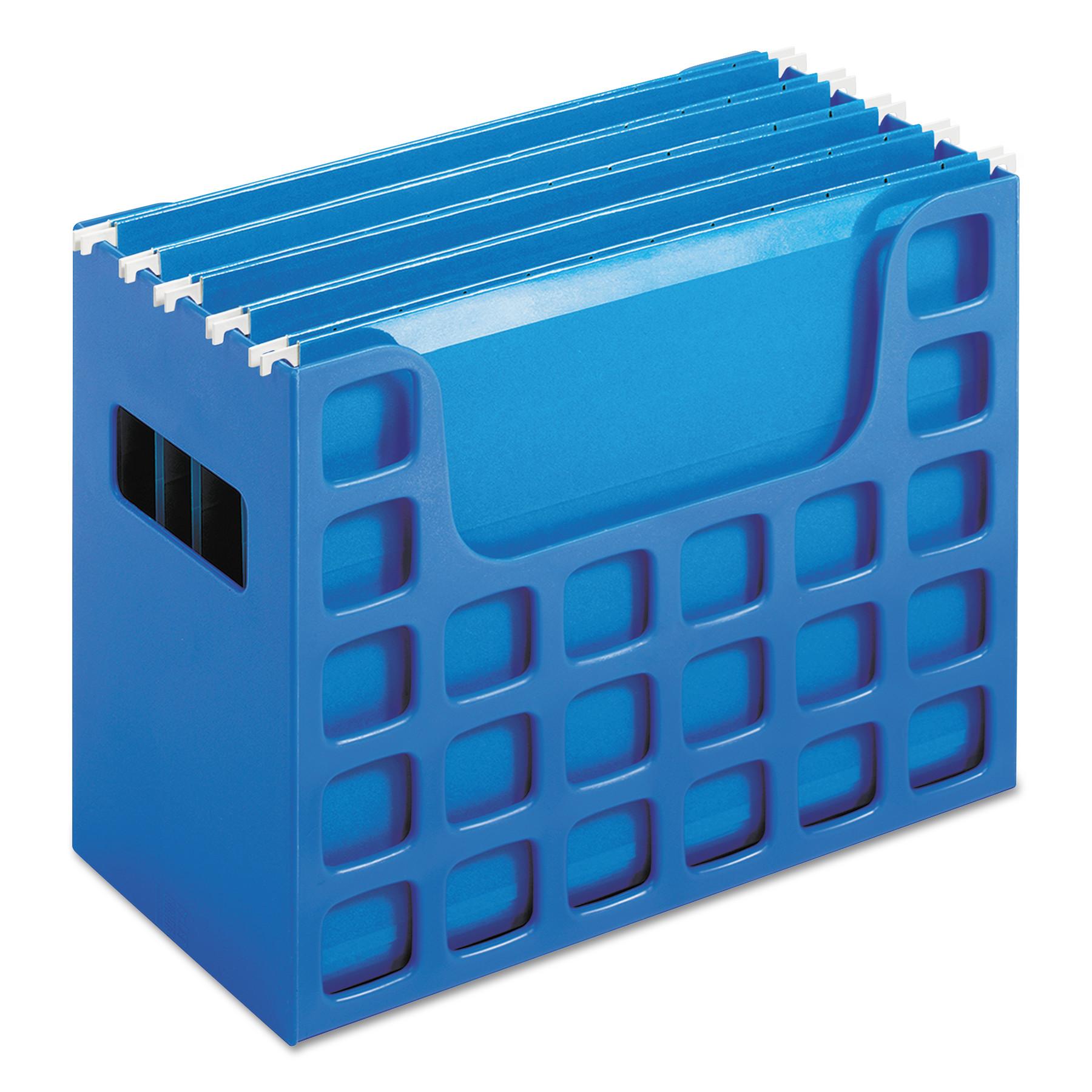 Desktop File w/Hanging Folders, Letter, Plastic, 12 1/4 x 6 x 9 1/2, Blue