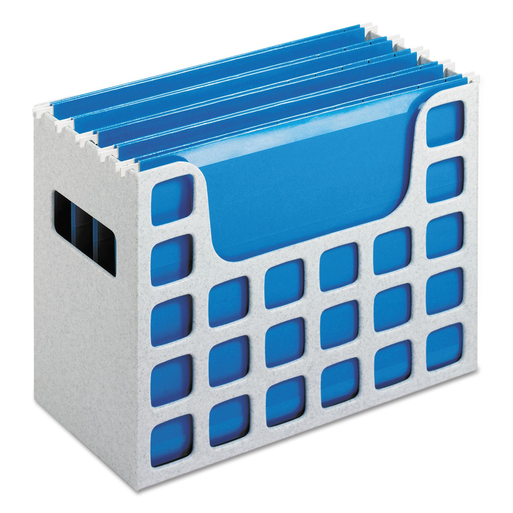 Desktop File w/Hanging Folders, Letter, Plastic, 12 1/4 x 6 x 9 1/2, Granite