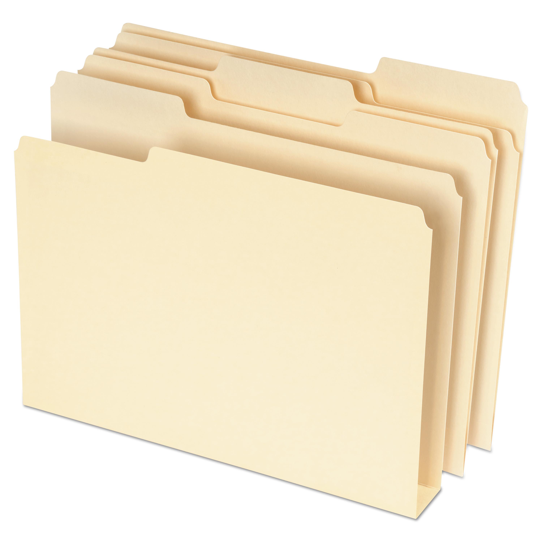 Double Stuff File Folders, 1/3-Cut Tabs, Letter Size, Manila, 50/Pack
