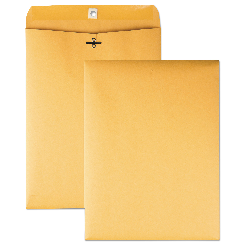 Clasp Envelope, #90, Cheese Blade Flap, Clasp/Gummed Closure, 9 x 12, Brown Kraft, 100/Box