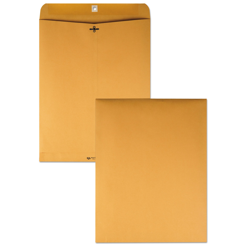 Clasp Envelope, #110, Cheese Blade Flap, Clasp/Gummed Closure, 12 x 15.5, Brown Kraft, 100/Box