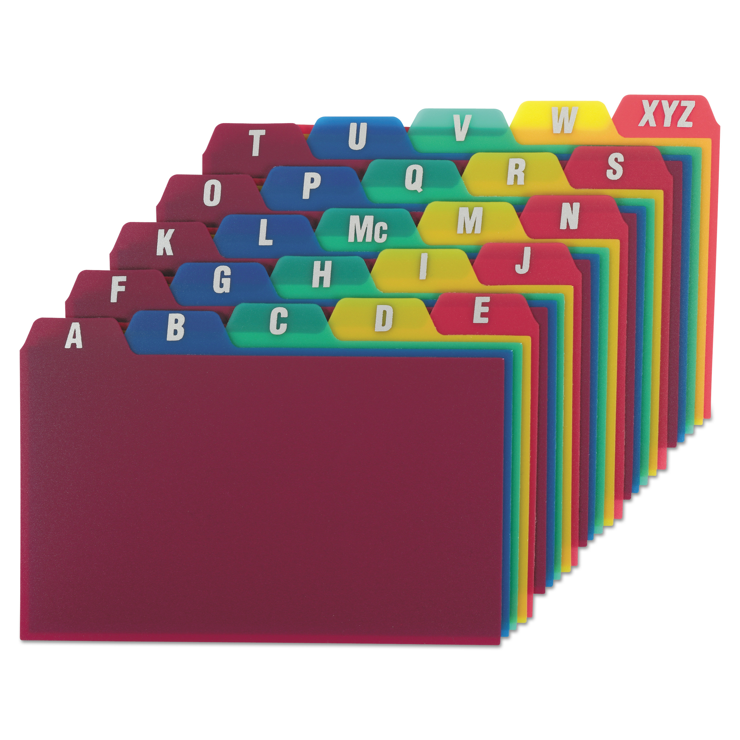 Durable Poly A-Z Card Guides, 1/5-Cut Top Tab, A to Z, 3 x 5, Assorted Colors, 25/Set