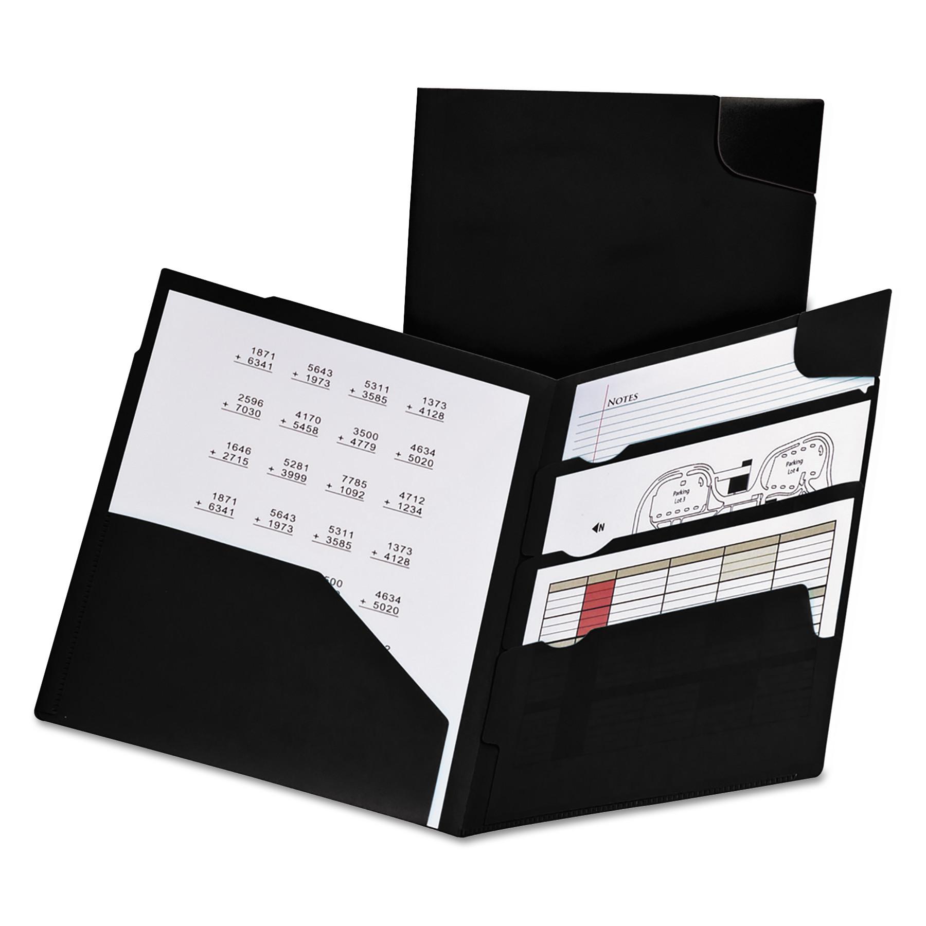 Divide It Up Four-Pocket Poly Folder, 11 x 8-1/2, Navy