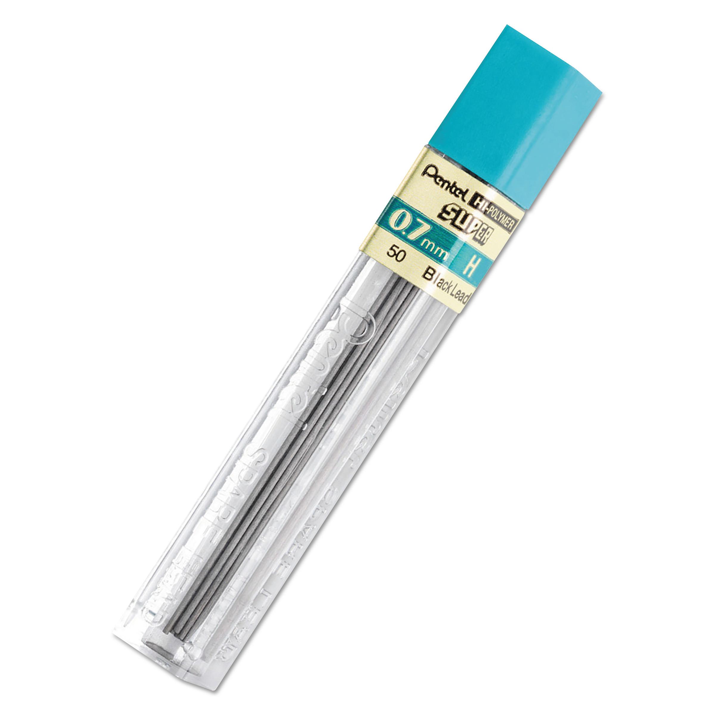 Super Hi-Polymer Lead Refills, 0.7 mm, H, Black, 12/Tube