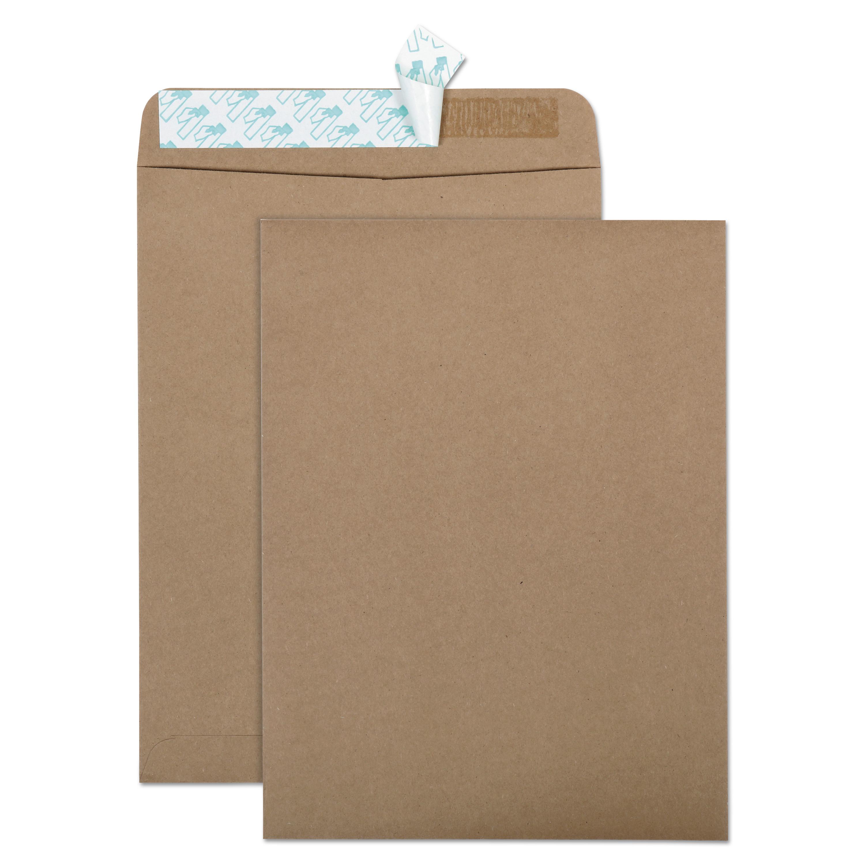 100% Recycled Brown Kraft Redi-Strip Envelope, #10 1/2, Cheese Blade Flap, Redi-Strip Closure, 9 x 12, Brown Kraft, 100/Box