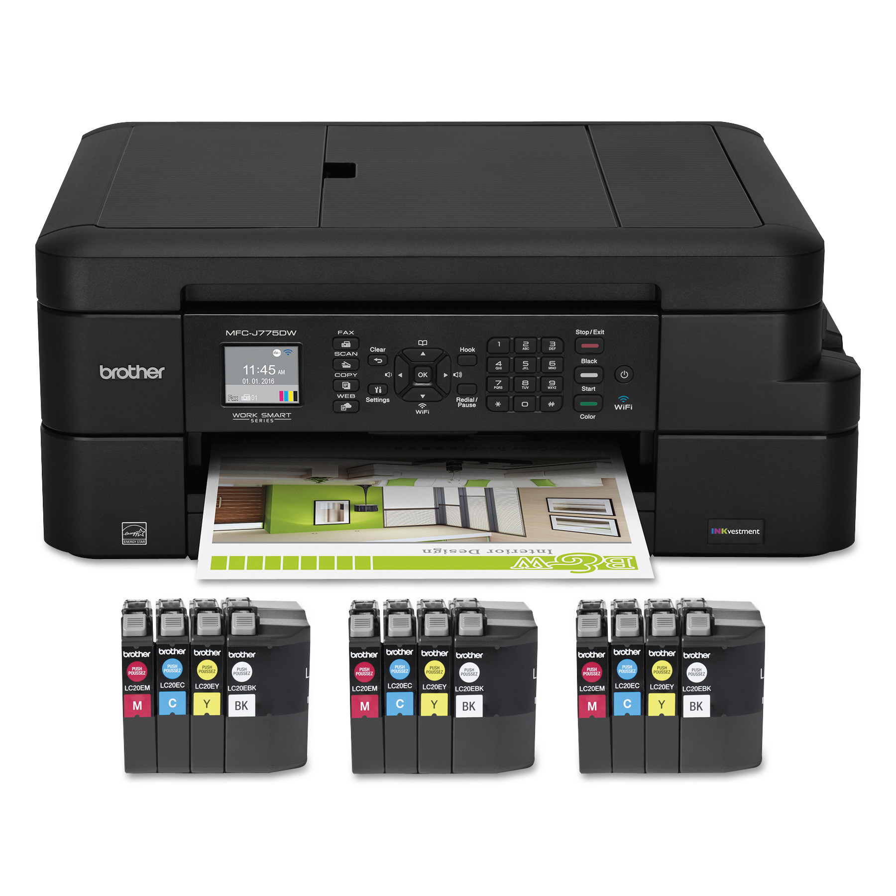 MFCJ775DWXL All-In-One Inkjet Printer, Copy/Fax/Print/Scan