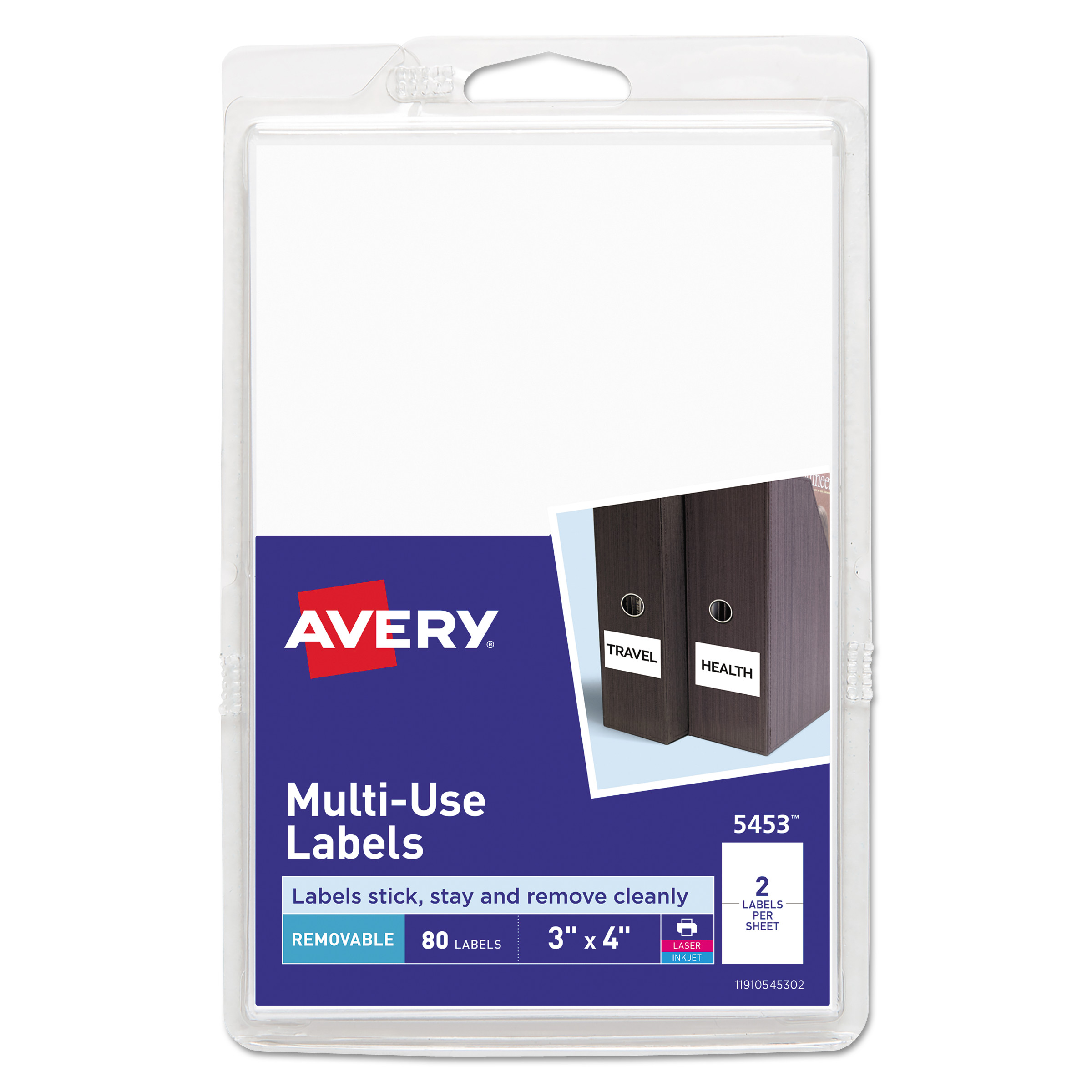 Removable Multi-Use Labels, Inkjet/Laser Printers, 3 x 4, White, 2/Sheet, 40 Sheets/Pack, (5453) AVE05453