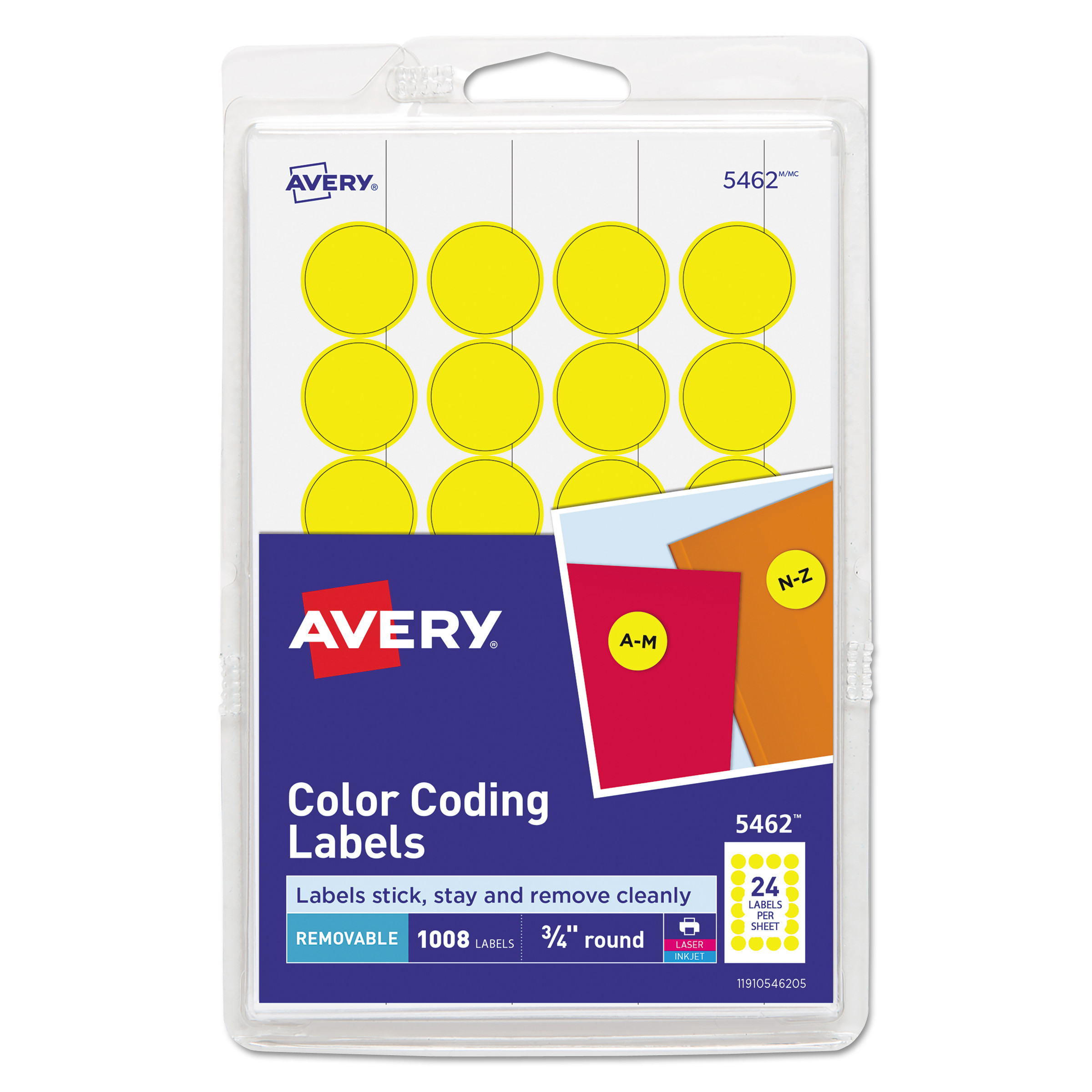 picture relating to Removable Printable Labels identified as AVERY-DENNISON Printable Detachable Shade-Coding Labels, 3/4