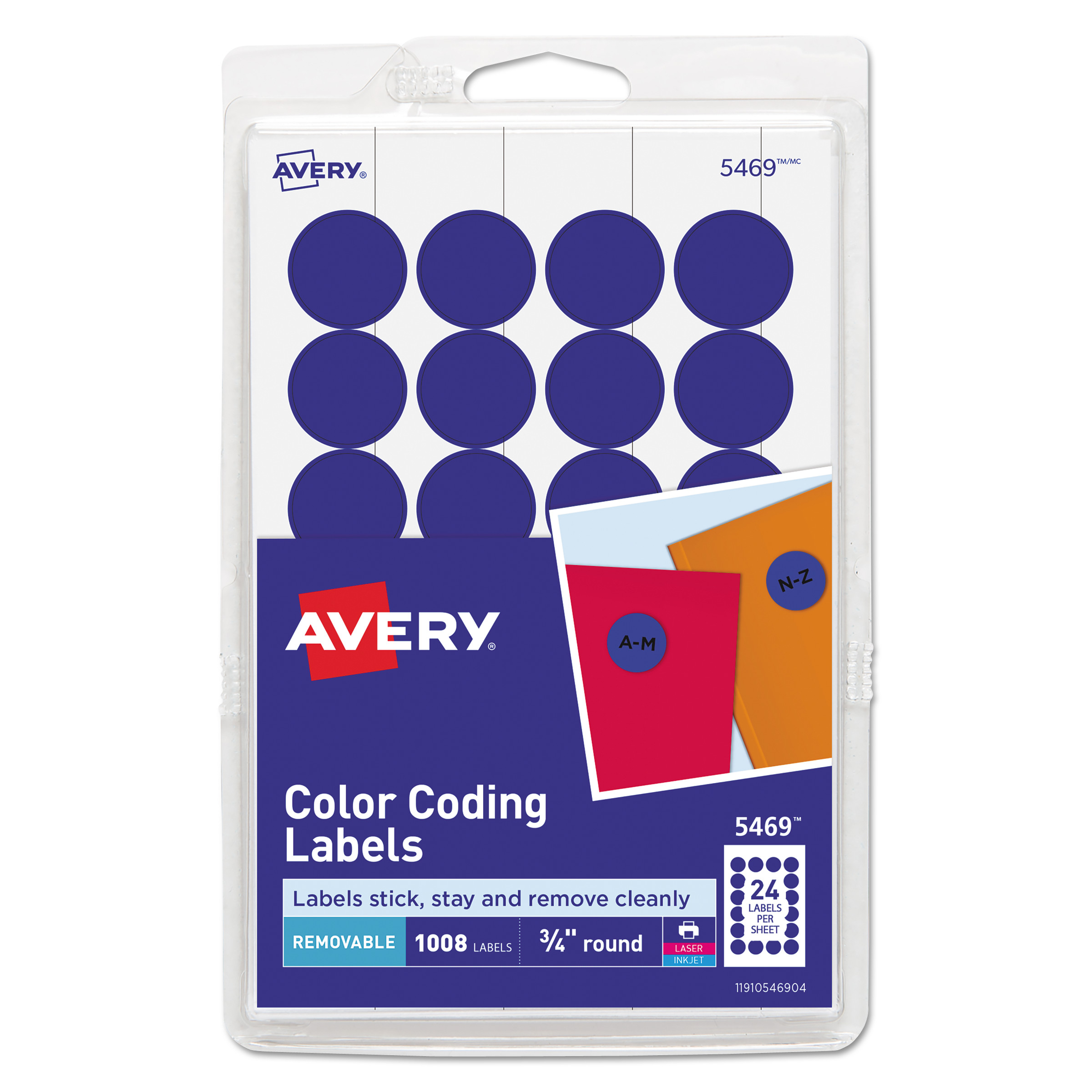 image regarding Removable Printable Labels titled Printable Self-Adhesive Detachable Coloration-Coding Labels, 0.75\