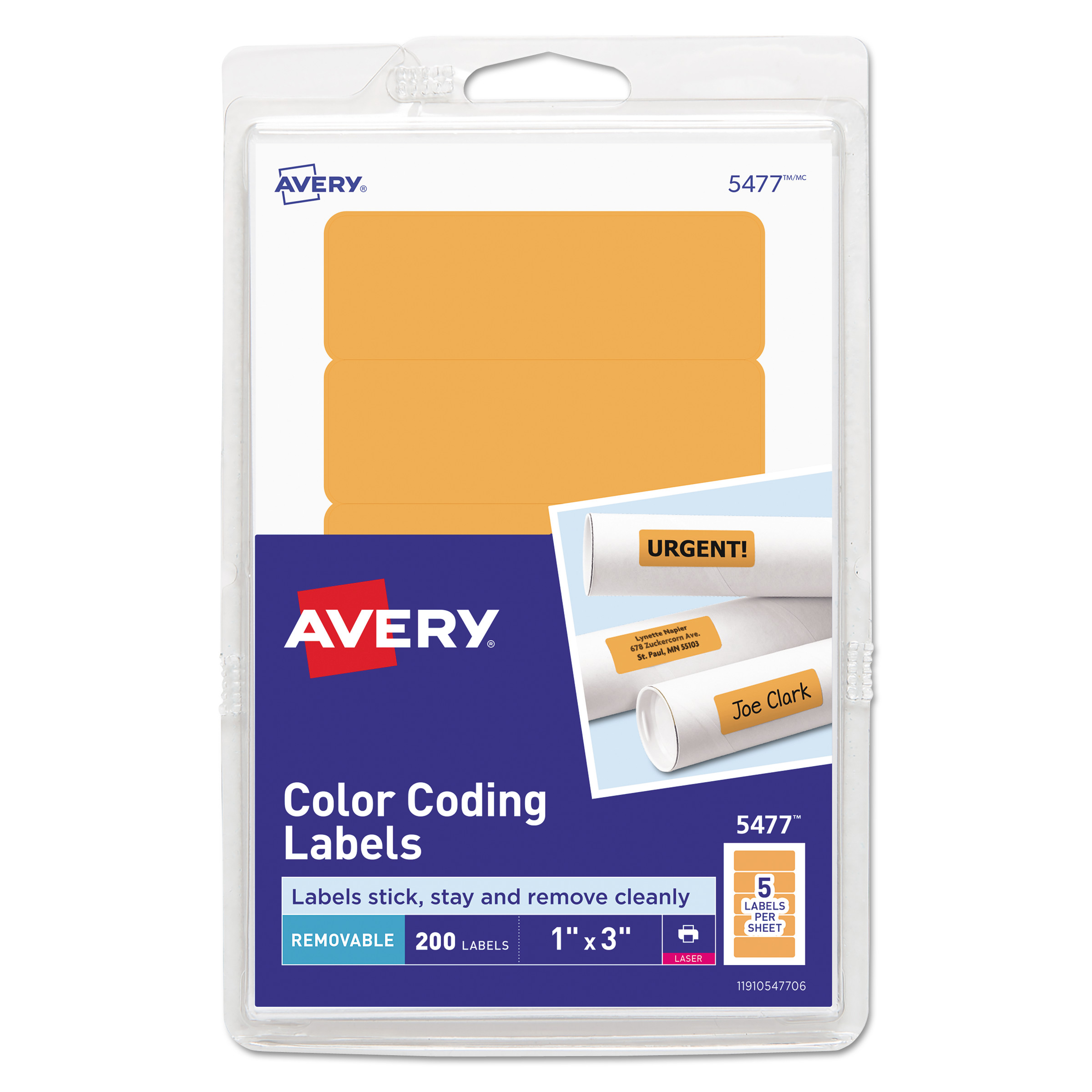 graphic relating to Printable Labels Sheets named Printable Self-Adhesive Detachable Coloration-Coding Labels, 1 x 3, Neon Orange, 5/Sheet, 40 Sheets/Pack