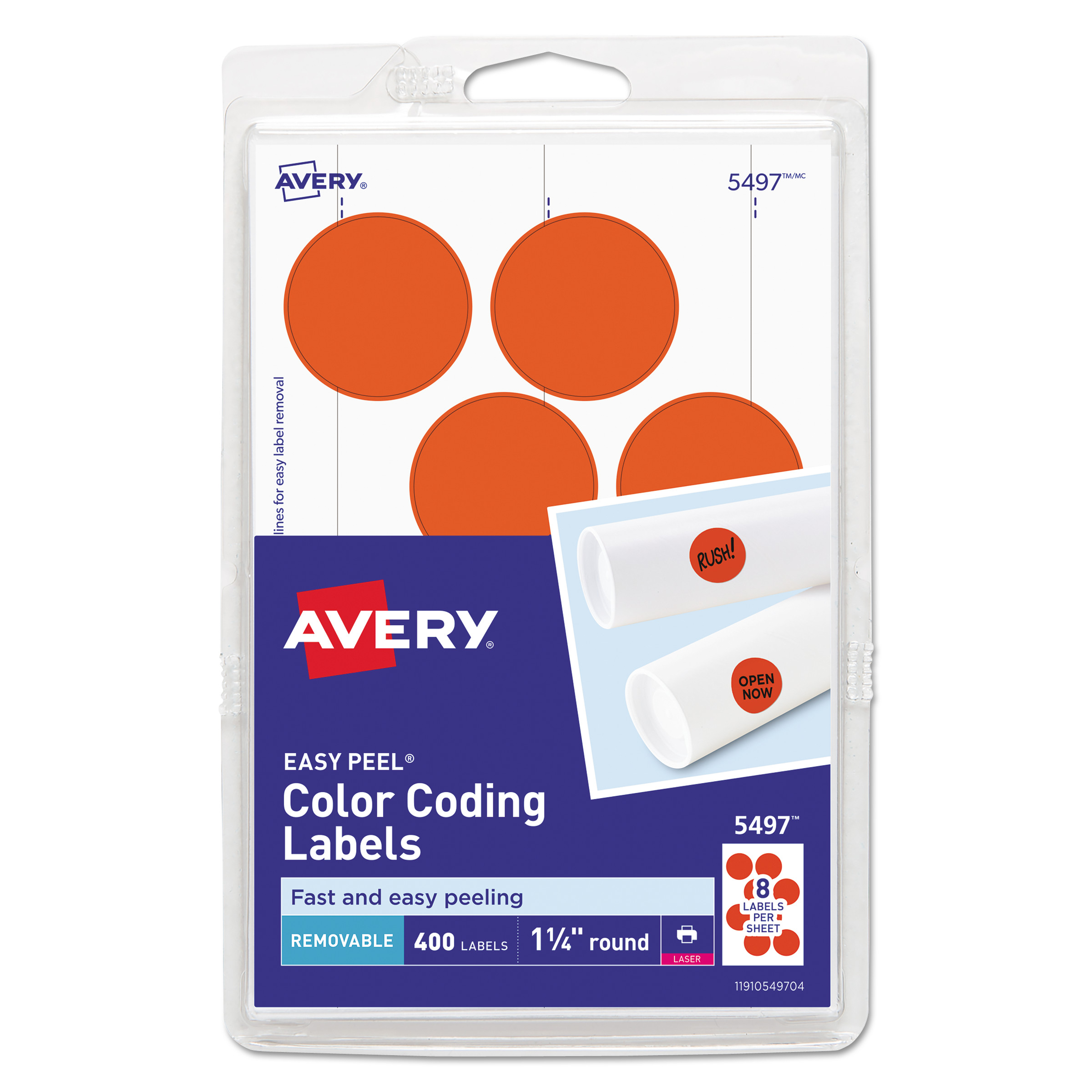 Case of 72 Round Neon Adhesive Labels