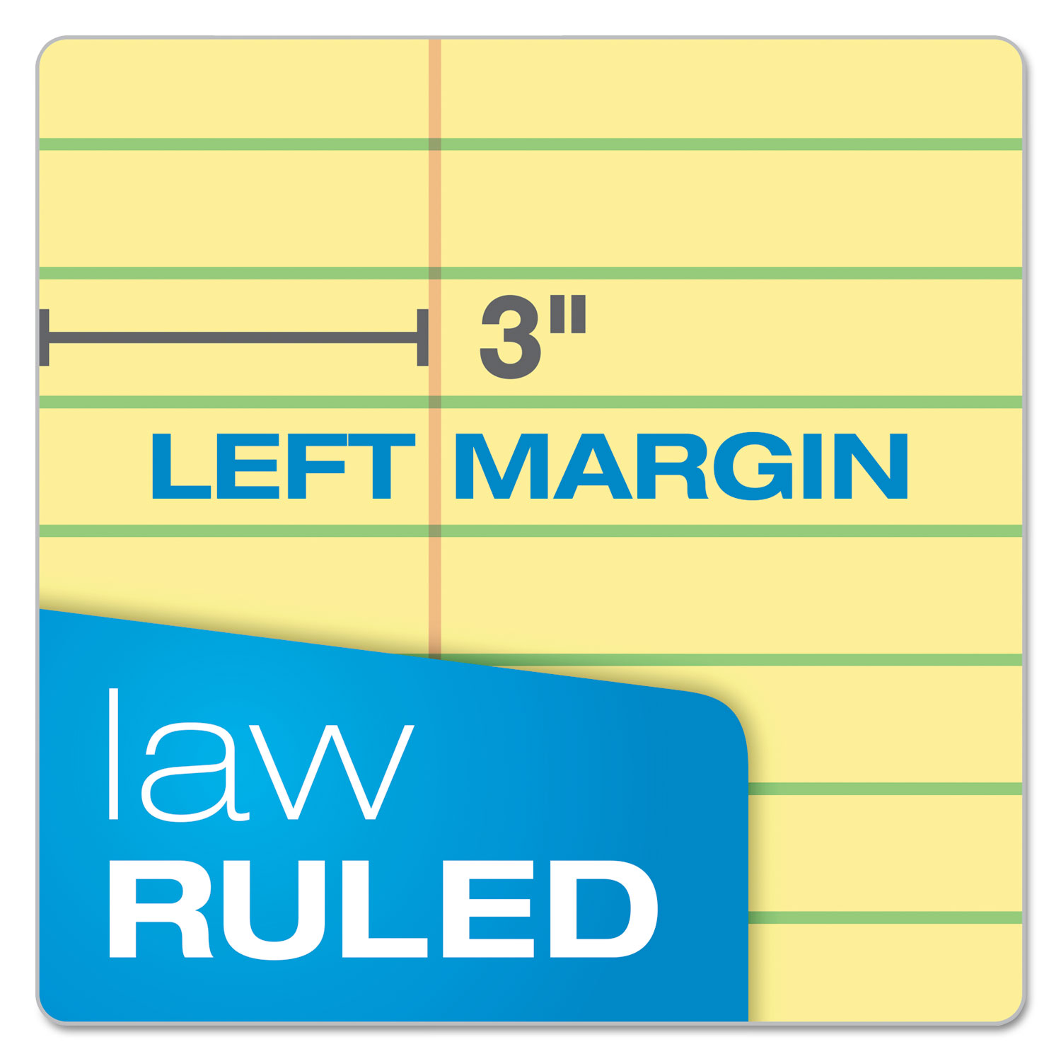 Double Sheets Pad Canary 8 1//2 x 11 3//4 100 Sheets 18 Pads Law Rule