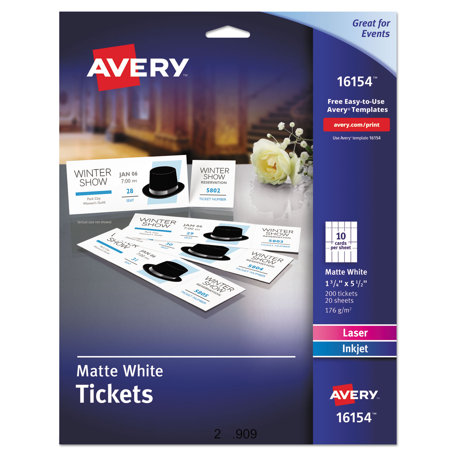 Printable Tickets Wtear Away Stubs By Avery Ave16154