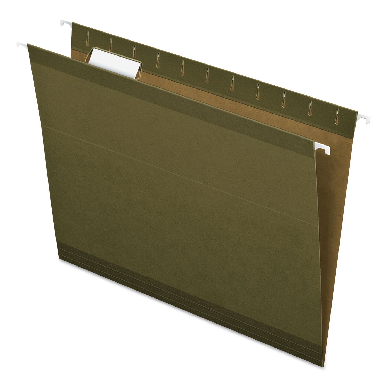 Reinforced Hanging File Folders, Letter Size, 1/5-Cut Tab, Standard Green, 25/Box