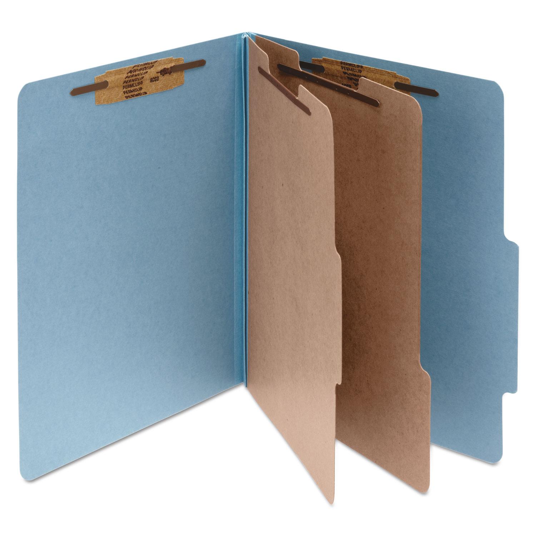 Pressboard Classification Folders, 2 Dividers, Letter Size, Sky Blue, 10/Box