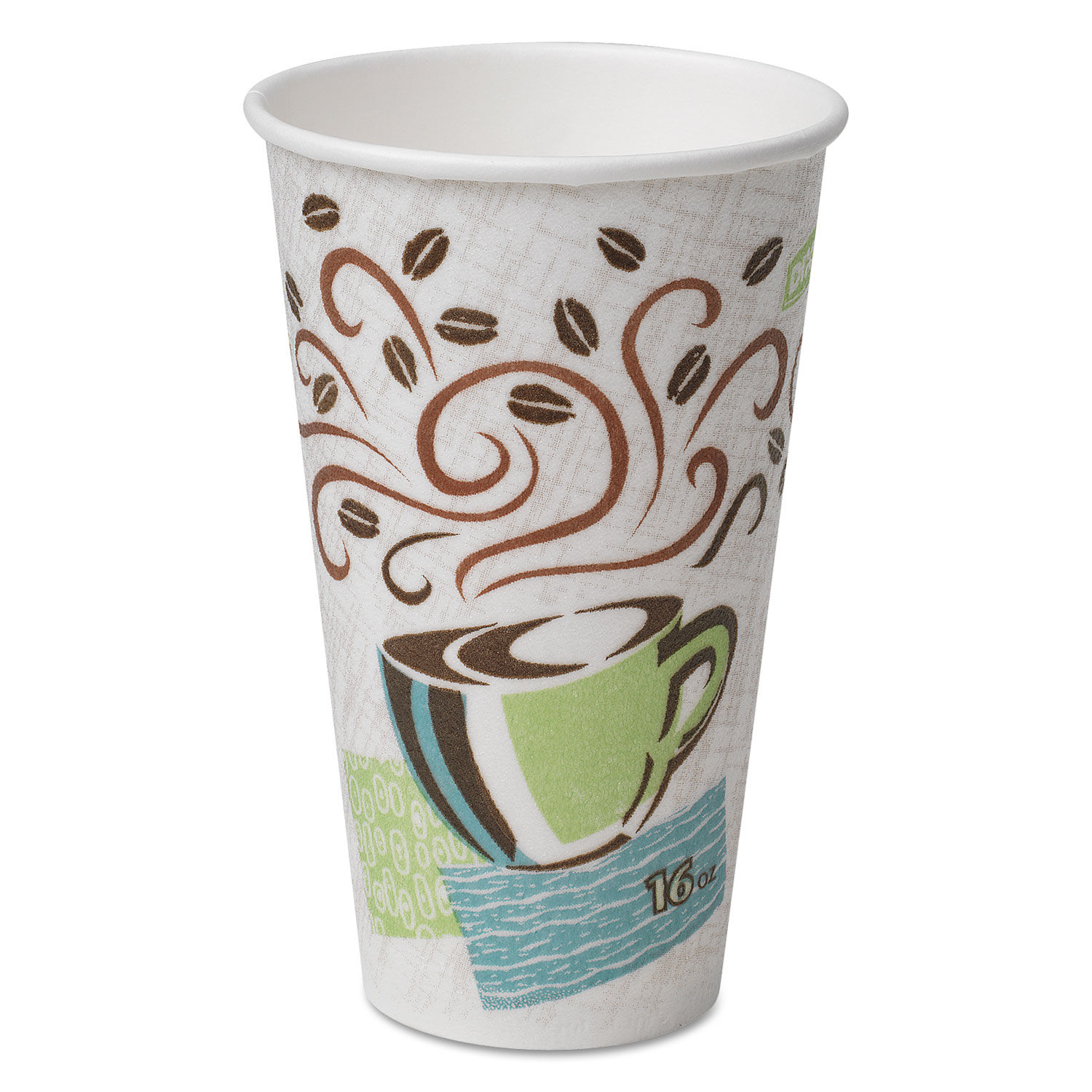PerfecTouch Paper Hot Cups, 16 oz, Coffee Dreams Design, 50/Pack