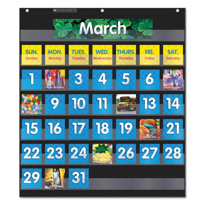 Monthly Calendar Pocket Chart 43 Pockets 25 X 2775 Black