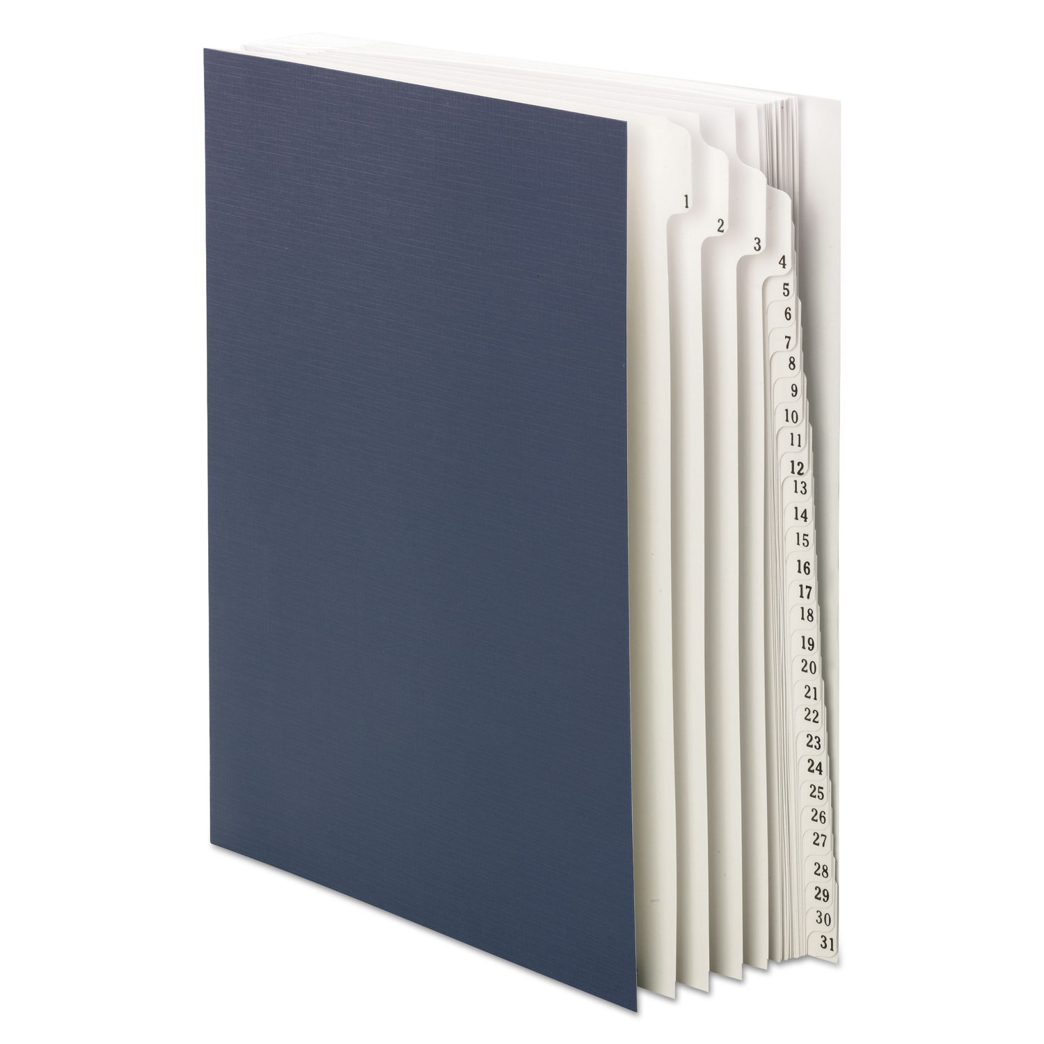 Expandable Indexed Sorter, Top Tab, Letter Size, Index 1-31, Navy Blue