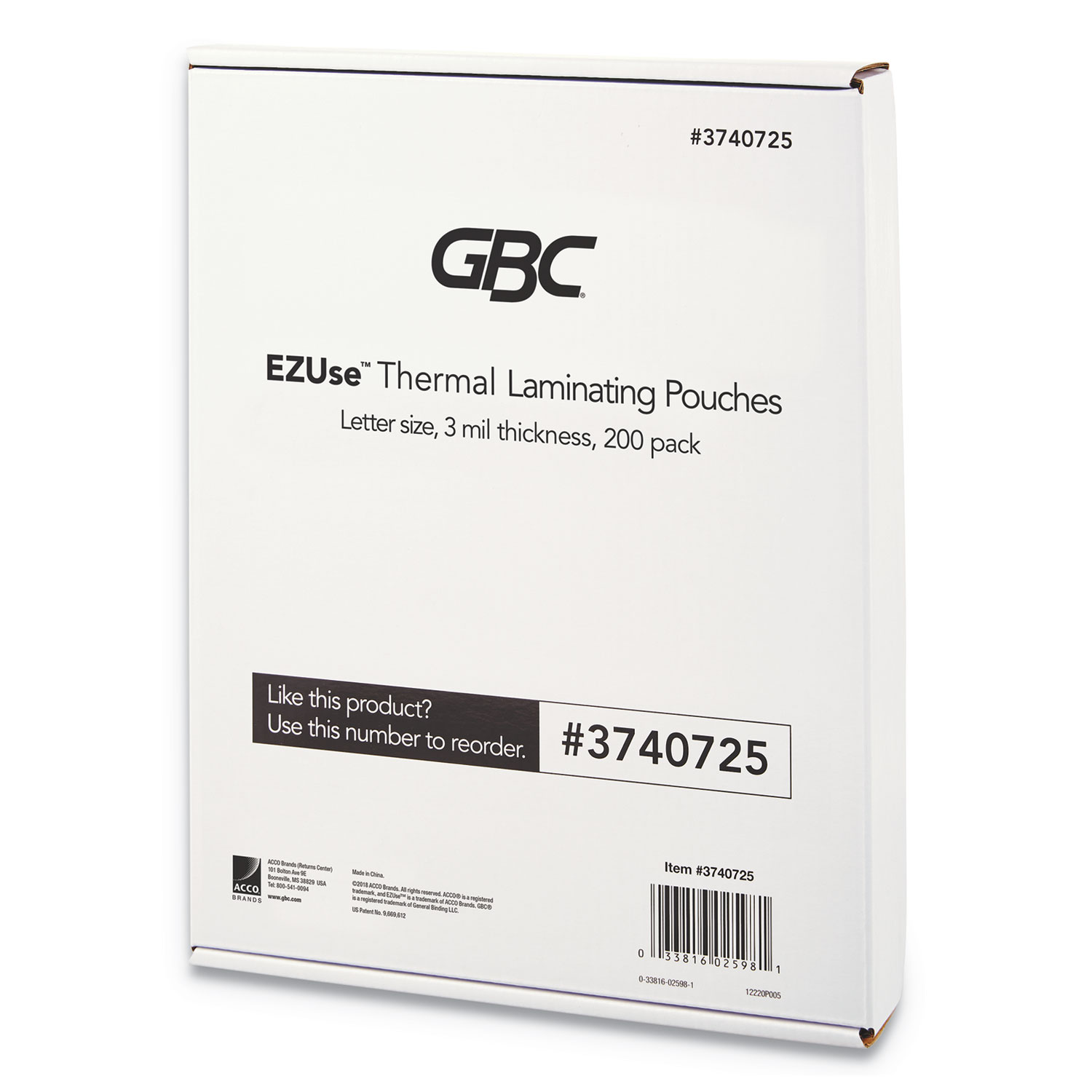 """EZUse Thermal Laminating Pouches, 3 mil, 8.5"""" x 11"""", Gloss Clear, 200/Pack"""