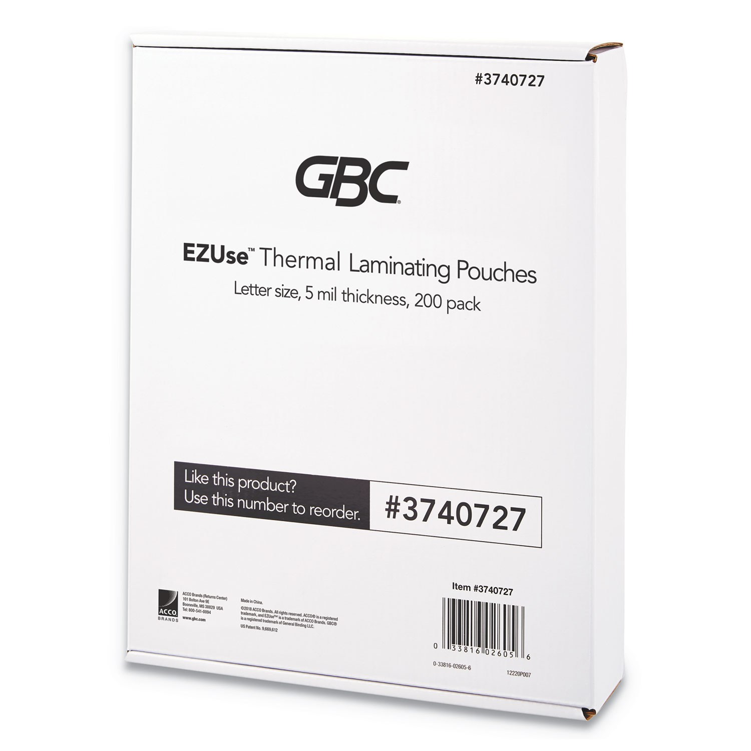 """EZUse Thermal Laminating Pouches, 5 mil, 8.5"""" x 11"""", Gloss Clear, 200/Pack"""
