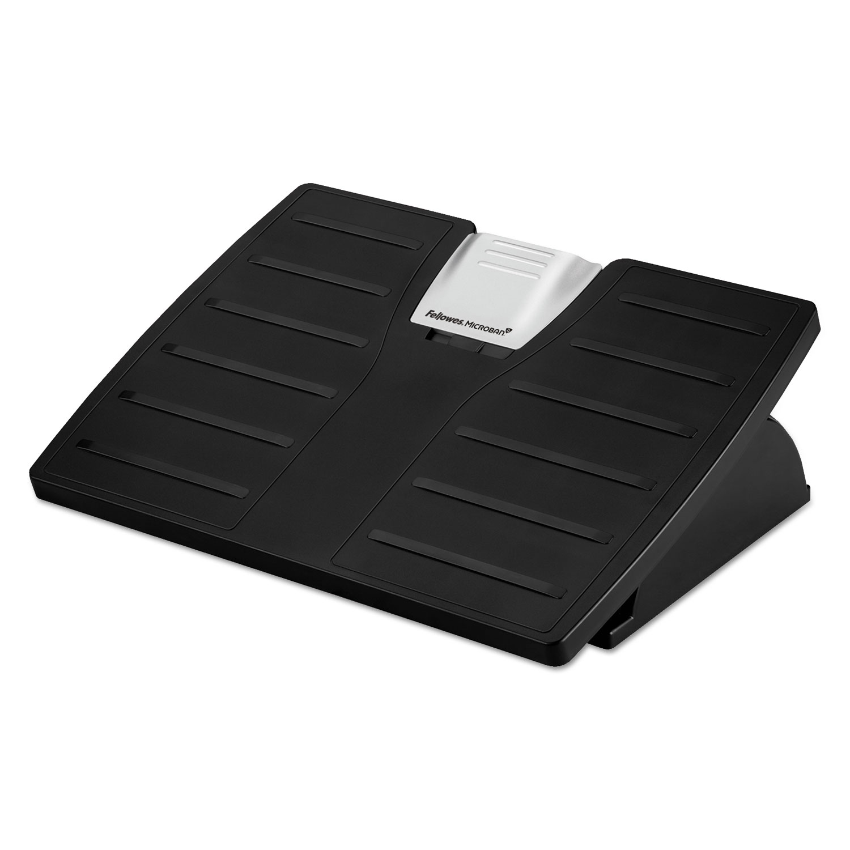Adjustable Locking Footrest with Microban, 17.5w x 13.13d x 5.63, Black/Silver