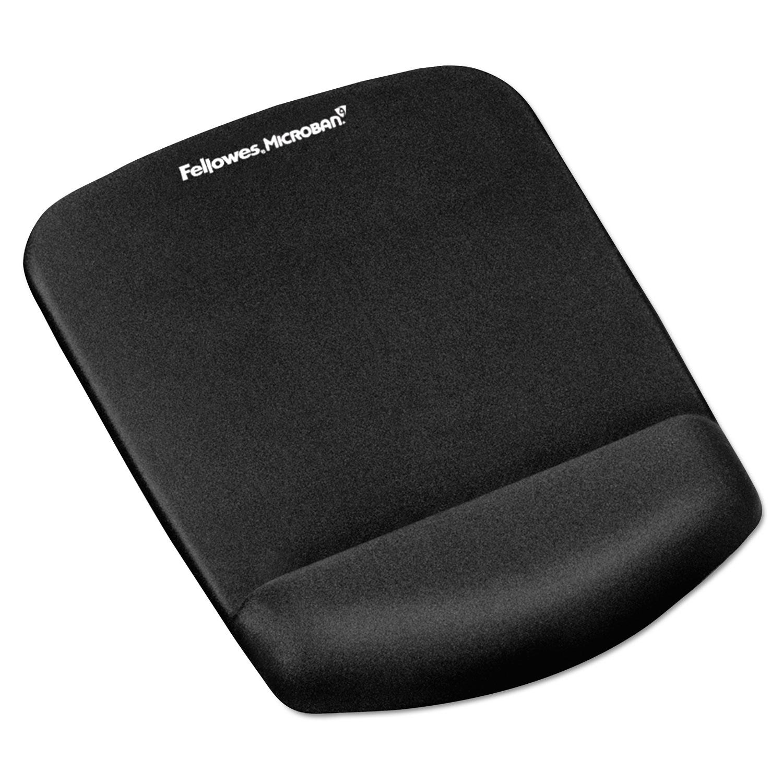 PlushTouch Mouse Pad with Wrist Rest, Foam, Black, 7.25 x 9.38