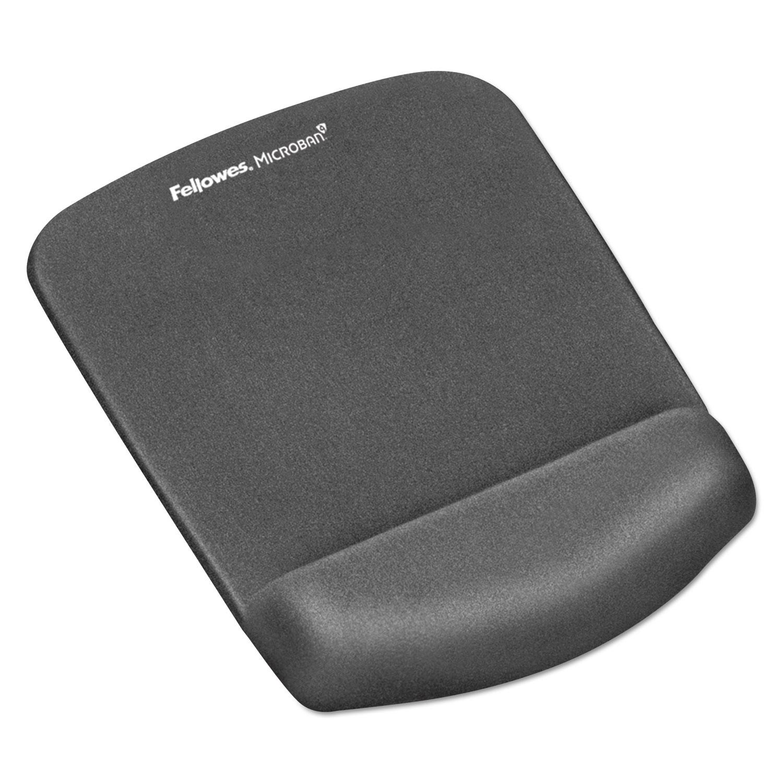 PlushTouch Mouse Pad with Wrist Rest, Foam, Graphite, 7 1/4 x 9-3/8