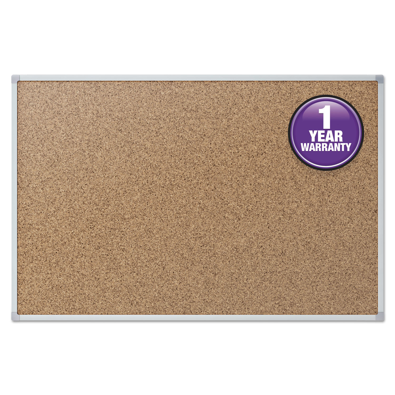 Cork Bulletin Board, 24 x 18, Silver Aluminum Frame