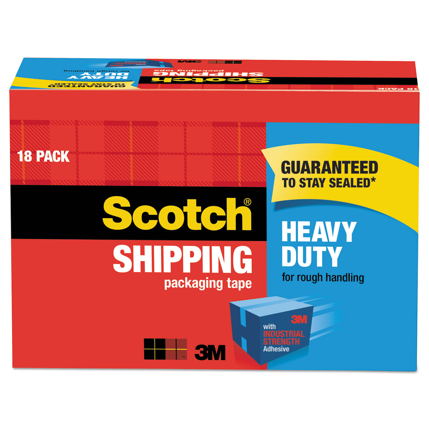 """3850 Heavy-Duty Packaging Tape Cabinet Pack, 3"""" Core, 1.88"""" x 54.6 yds, Clear, 18/Pack"""