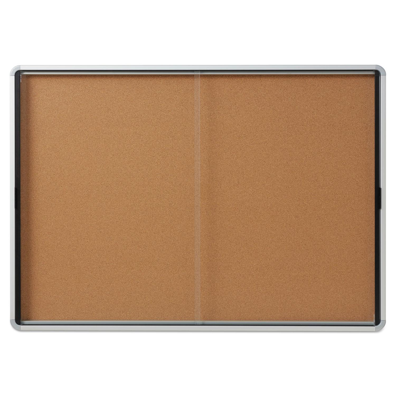 Enclosed Indoor Cork Bulletin Board Wsliding Glass Doors 56 X 39 Silver Frame