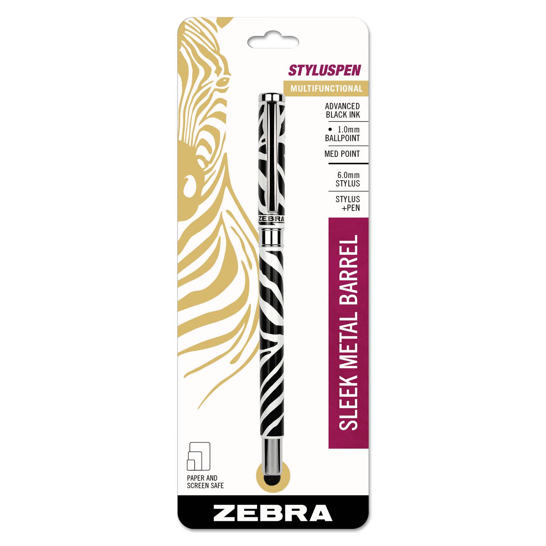 StylusPen Capped Ballpoint Pen/Stylus, Zebra Print
