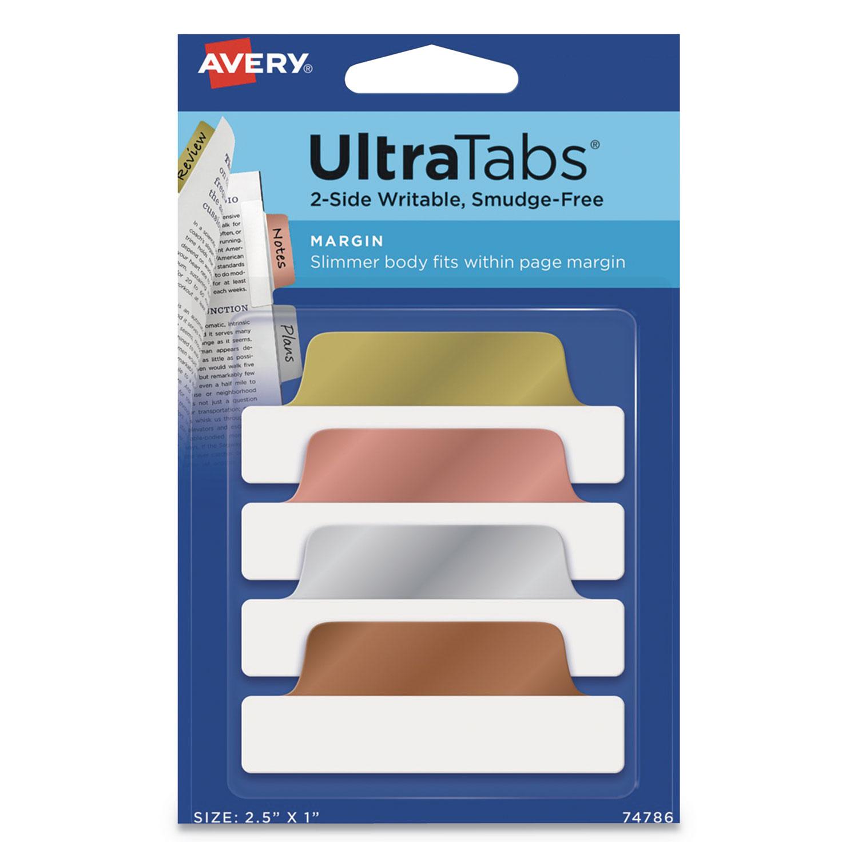 "Ultra Tabs Repositionable Margin Tabs, 1/5-Cut Tabs, Assorted Metallic, 2.5"" Wide, 24/Pack"
