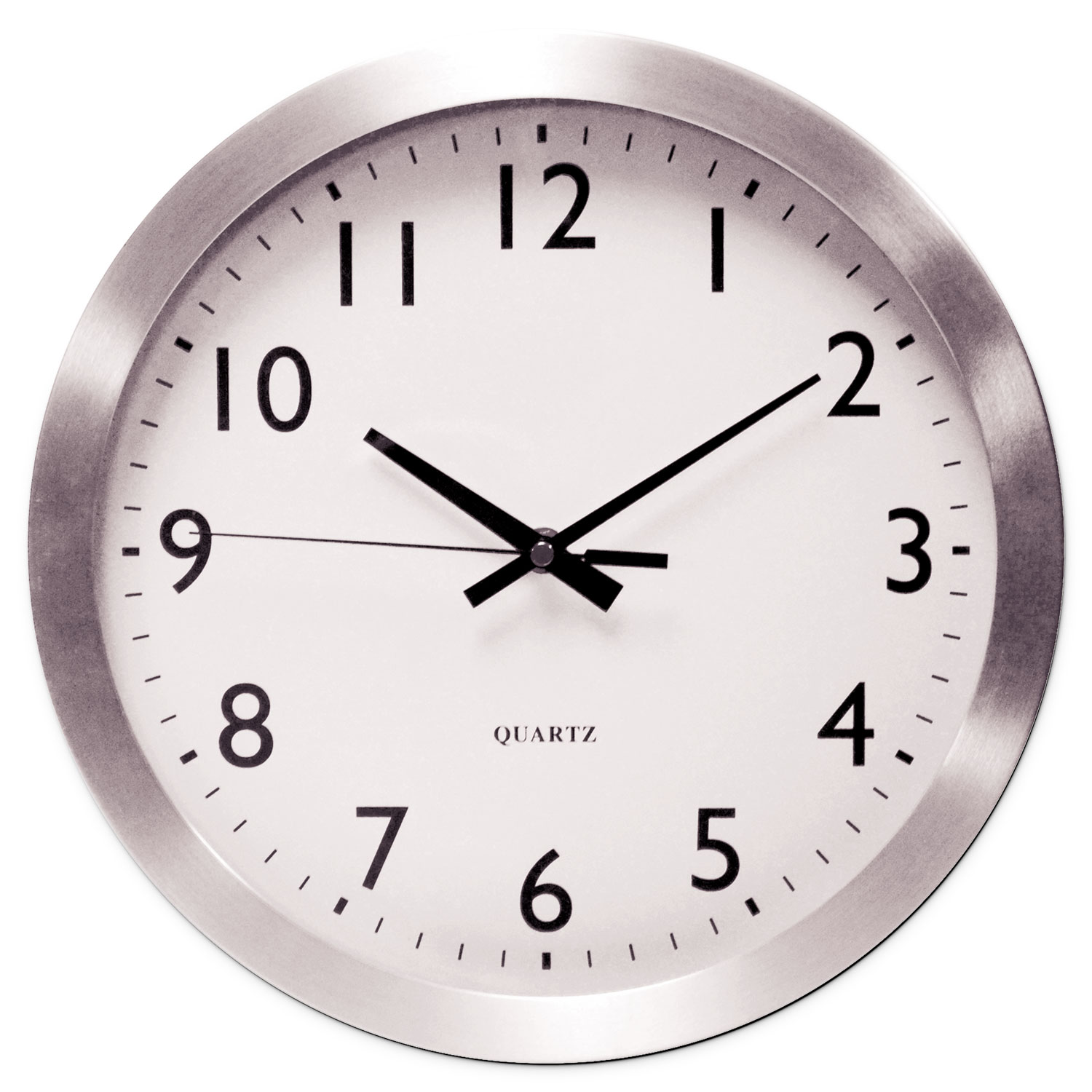 """Brushed Aluminum Wall Clock, 12"""" Overall Diameter, Silver Case, 1 AA (sold separately)"""