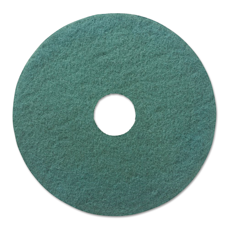 "Heavy-Duty Scrubbing Floor Pads, 19"" Diameter, Green, 5/Carton"