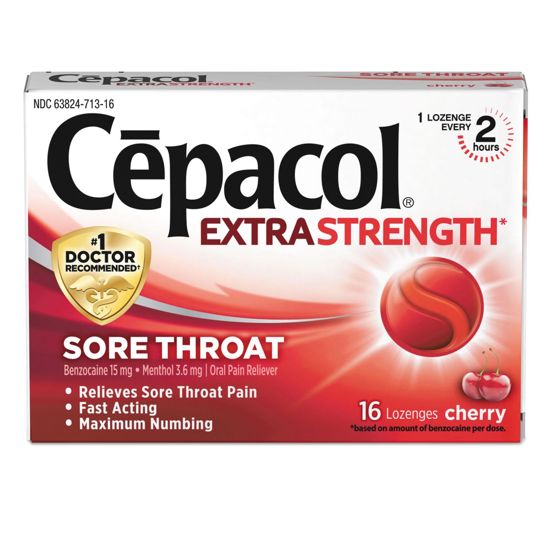 Extra Strength Sore Throat Lozenge, Cherry, 16/Box